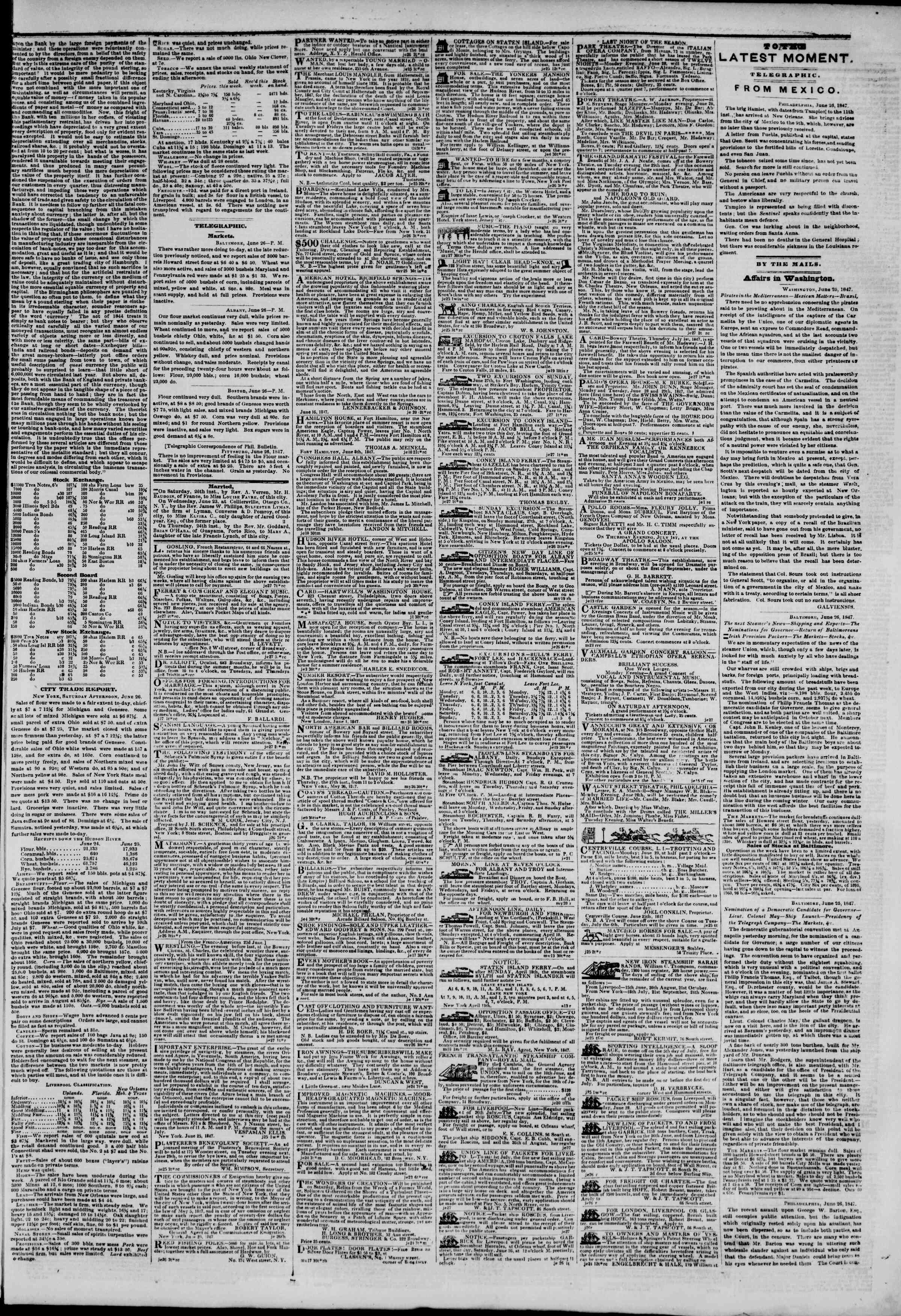 Newspaper of The New York Herald dated June 27, 1847 Page 3