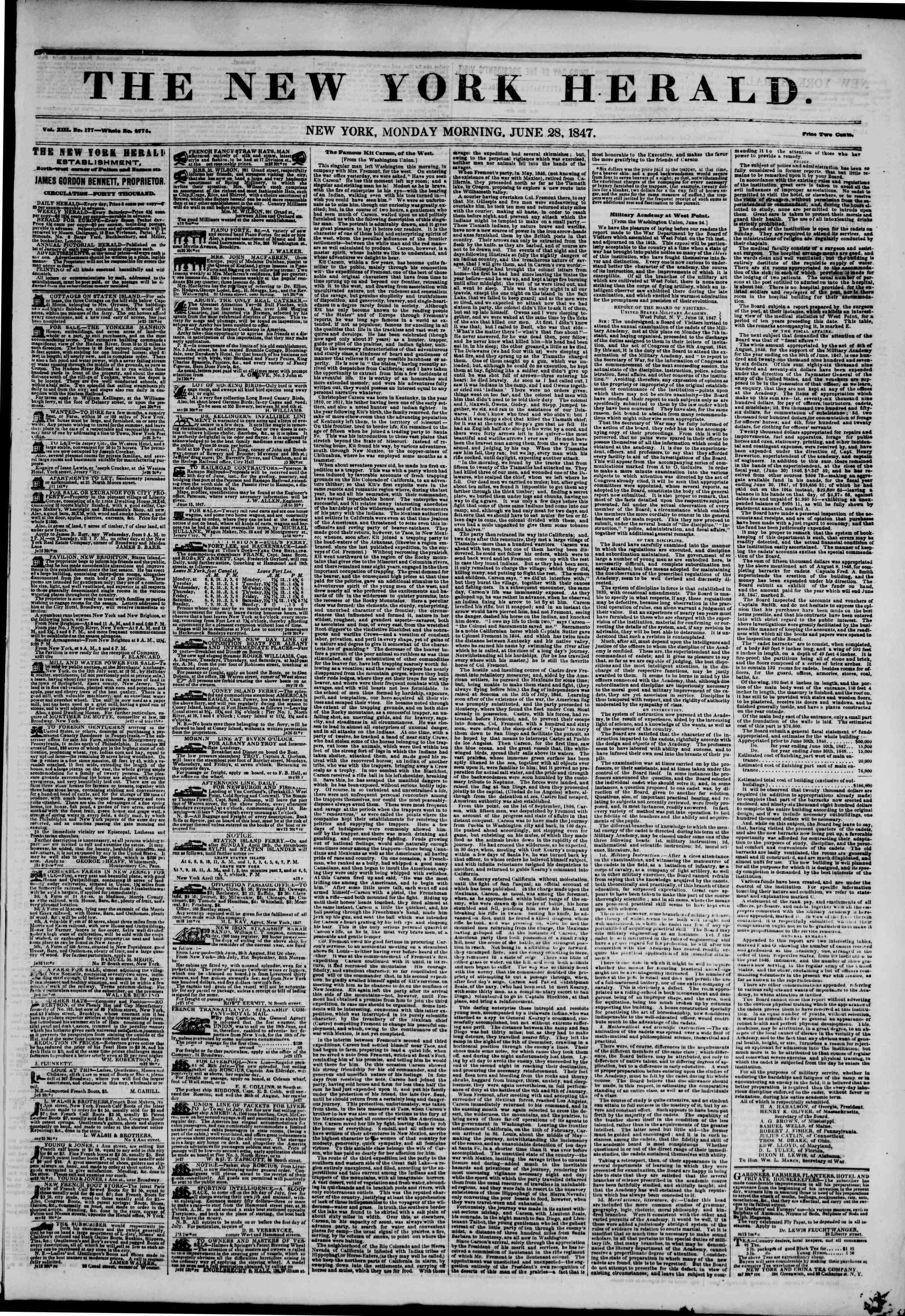28 Haziran 1847 tarihli The New York Herald Gazetesi Sayfa 1