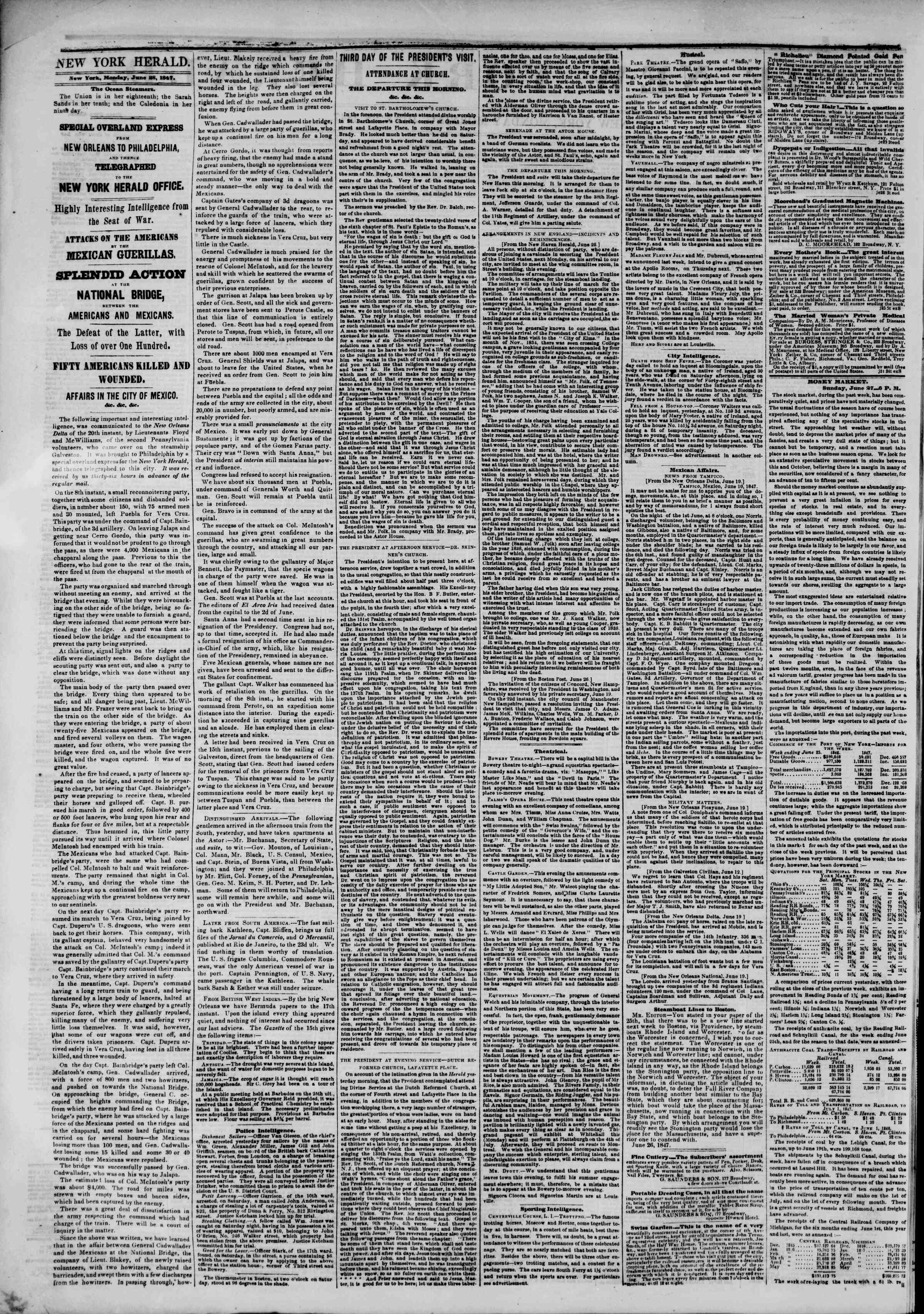 Newspaper of The New York Herald dated June 28, 1847 Page 2