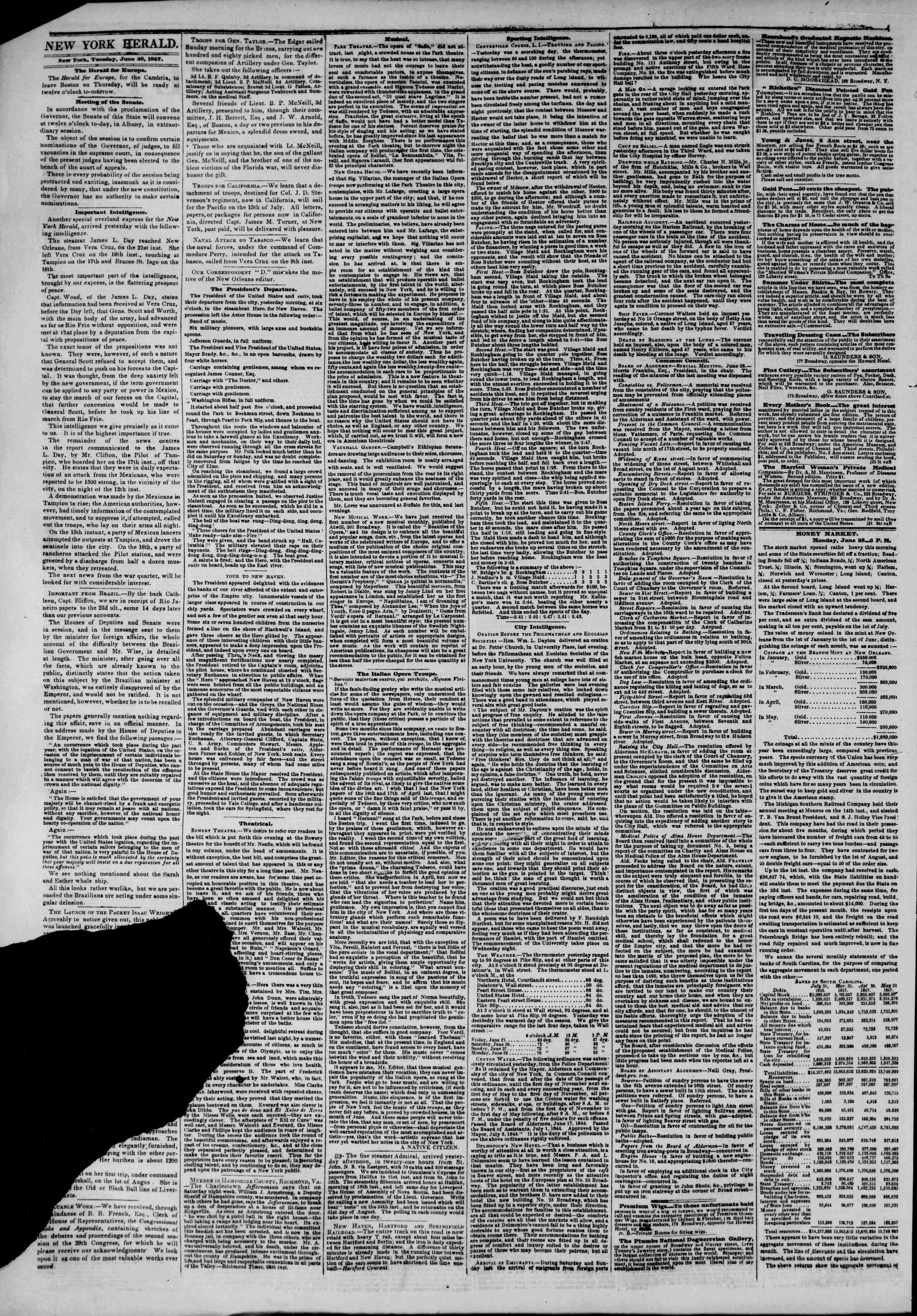 Newspaper of The New York Herald dated June 29, 1847 Page 2