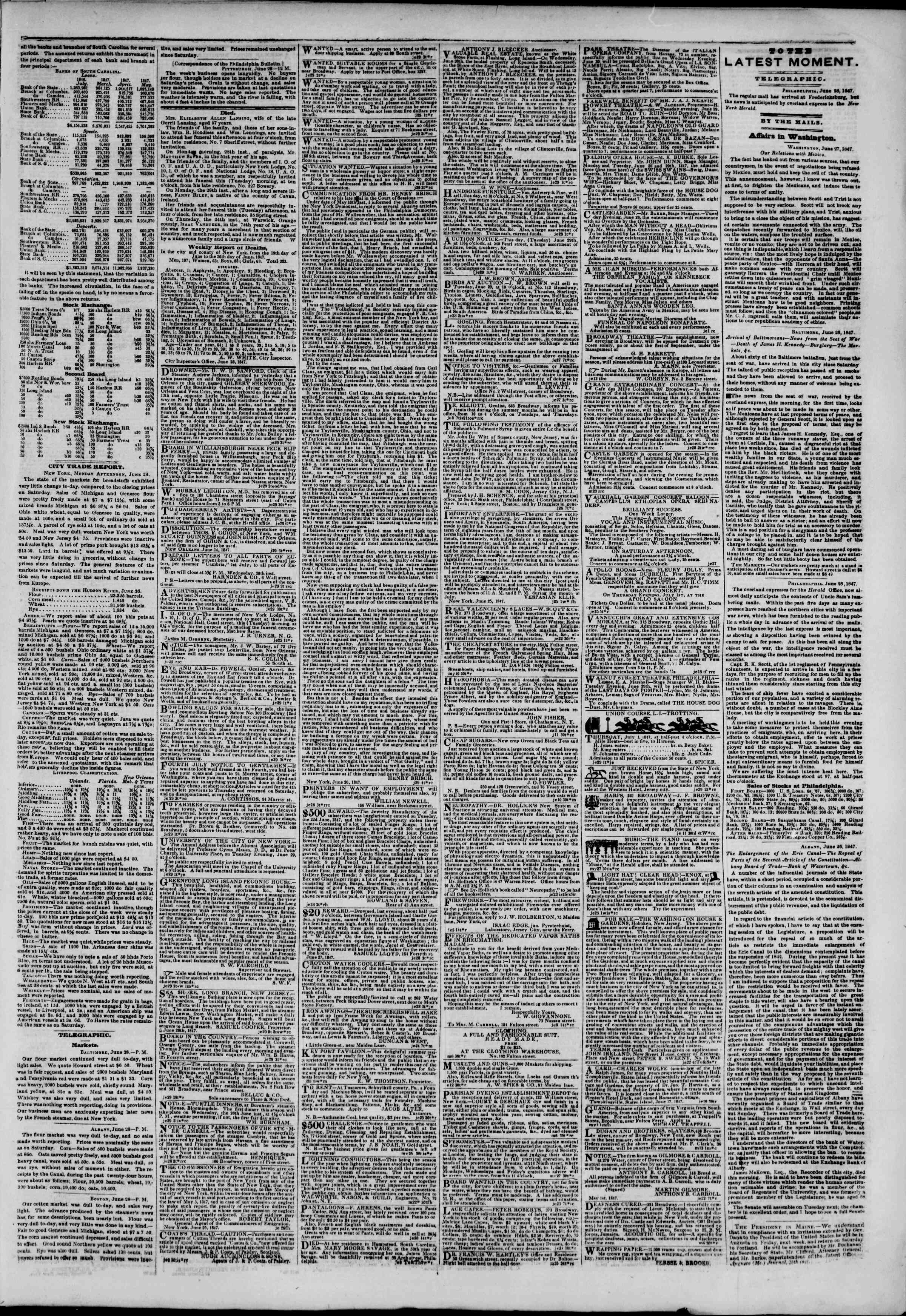 Newspaper of The New York Herald dated June 29, 1847 Page 3