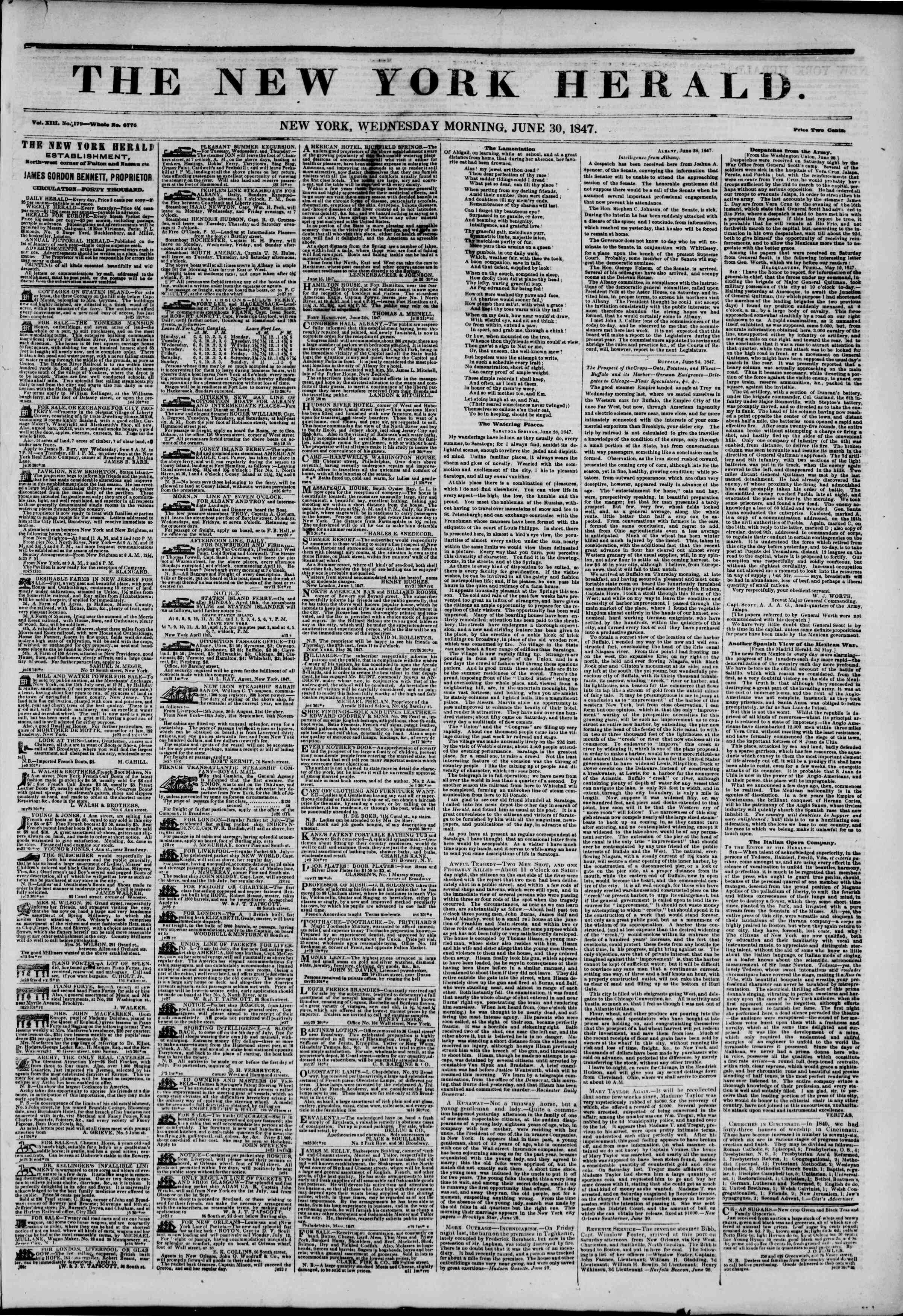Newspaper of The New York Herald dated June 30, 1847 Page 1