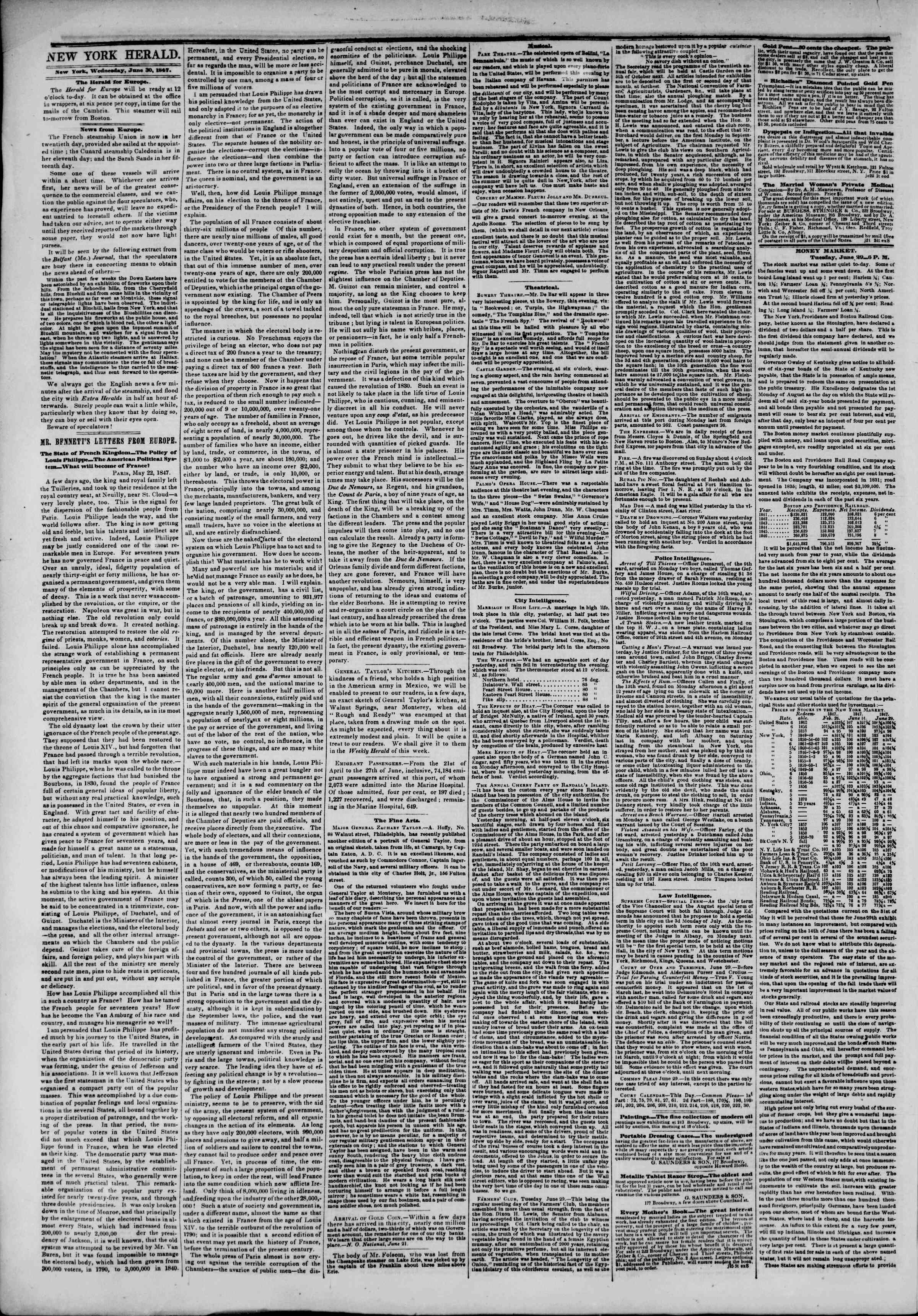 Newspaper of The New York Herald dated June 30, 1847 Page 2