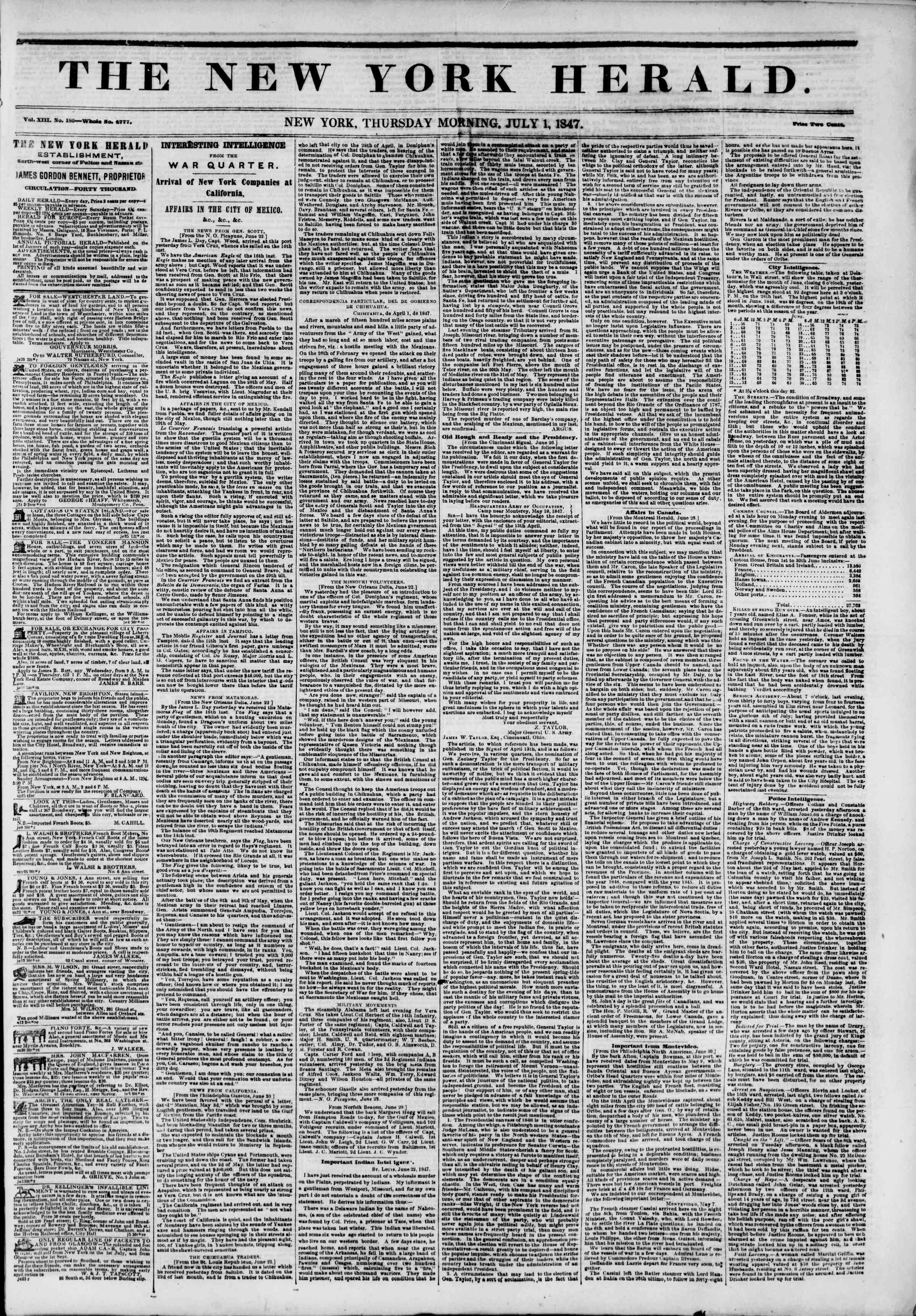 1 Temmuz 1847 tarihli The New York Herald Gazetesi Sayfa 1