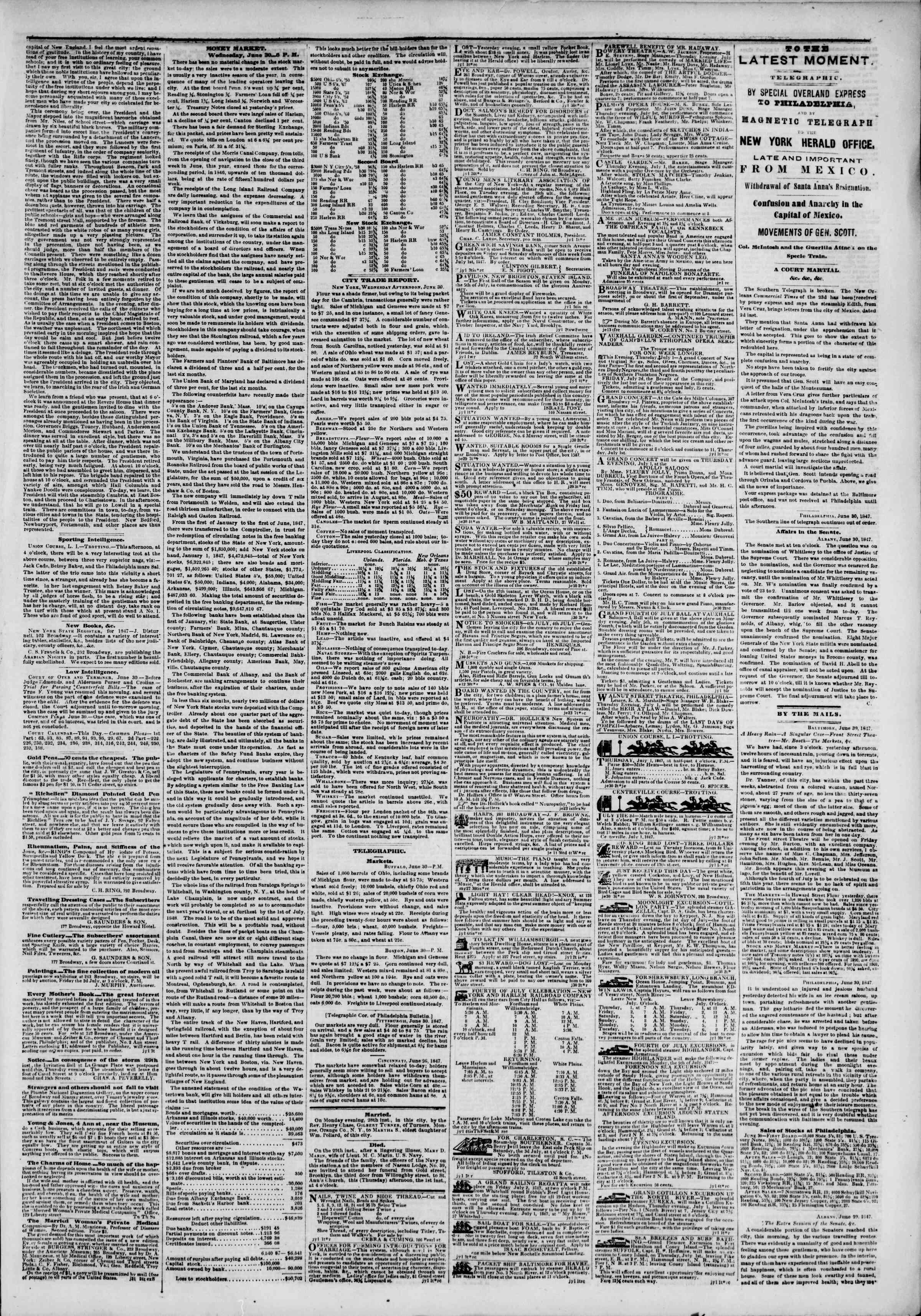 1 Temmuz 1847 tarihli The New York Herald Gazetesi Sayfa 3