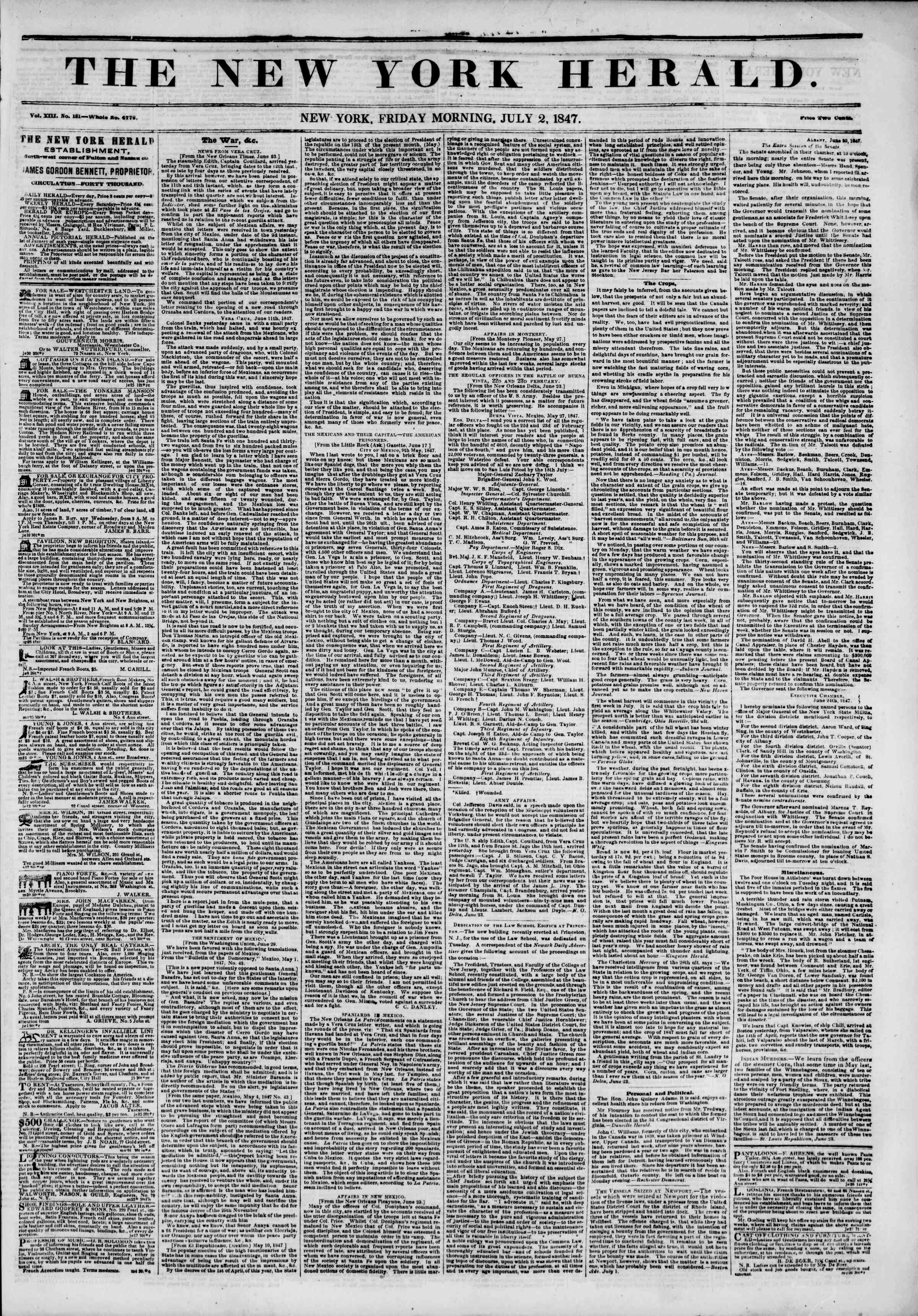 Newspaper of The New York Herald dated July 2, 1847 Page 1