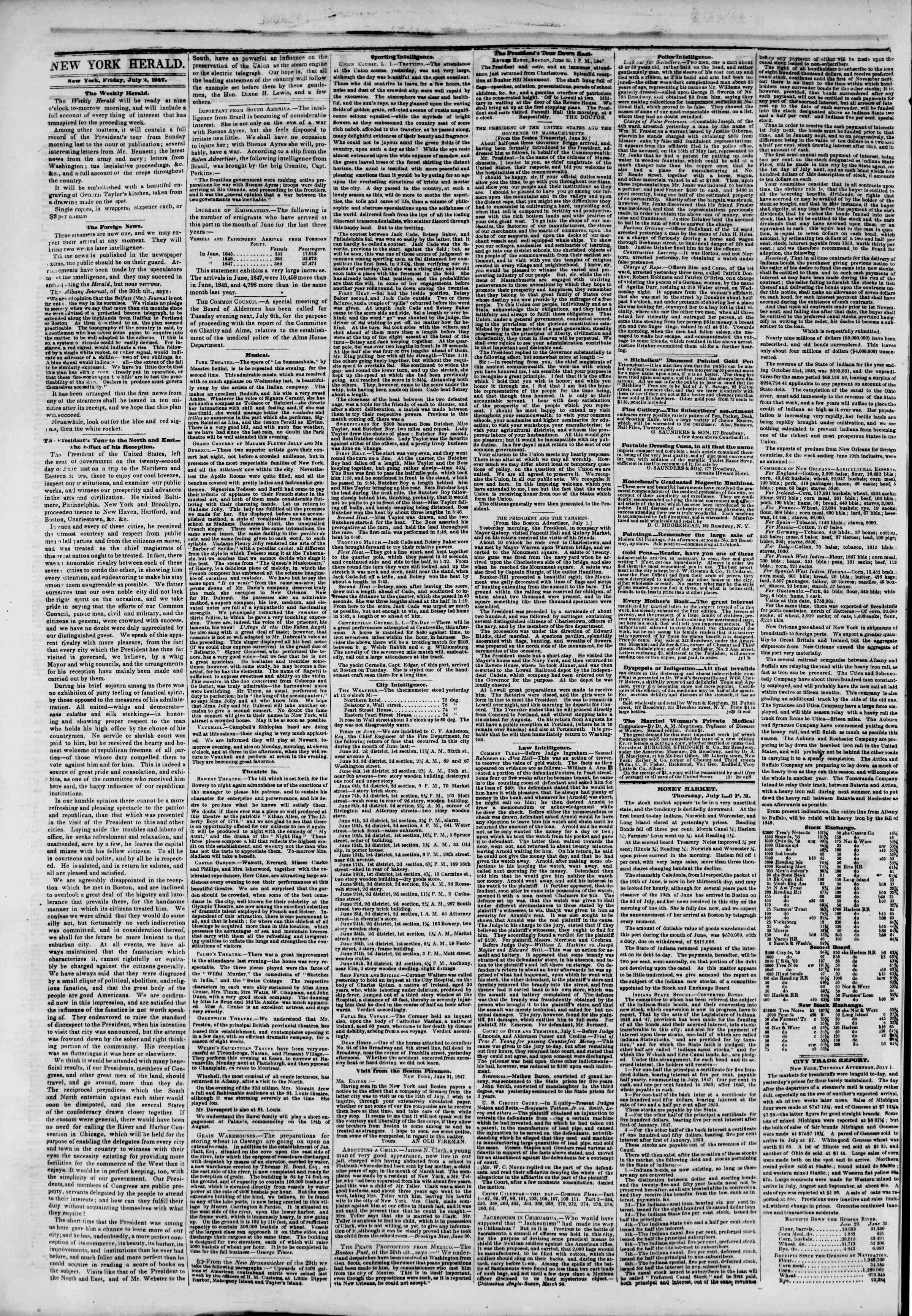 Newspaper of The New York Herald dated July 2, 1847 Page 2