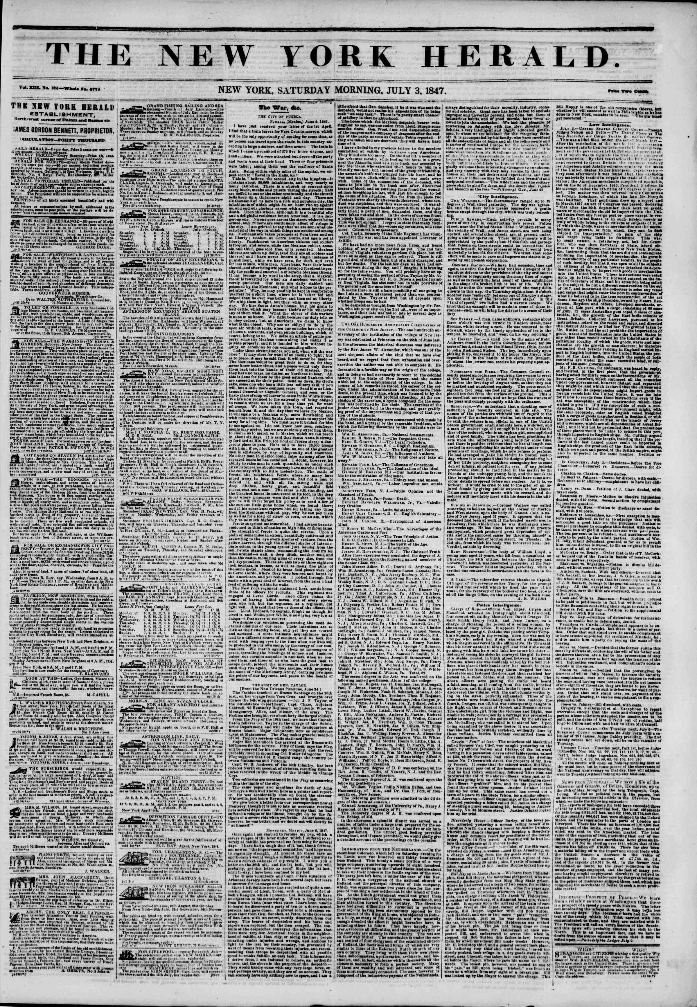 Newspaper of The New York Herald dated July 3, 1847 Page 1