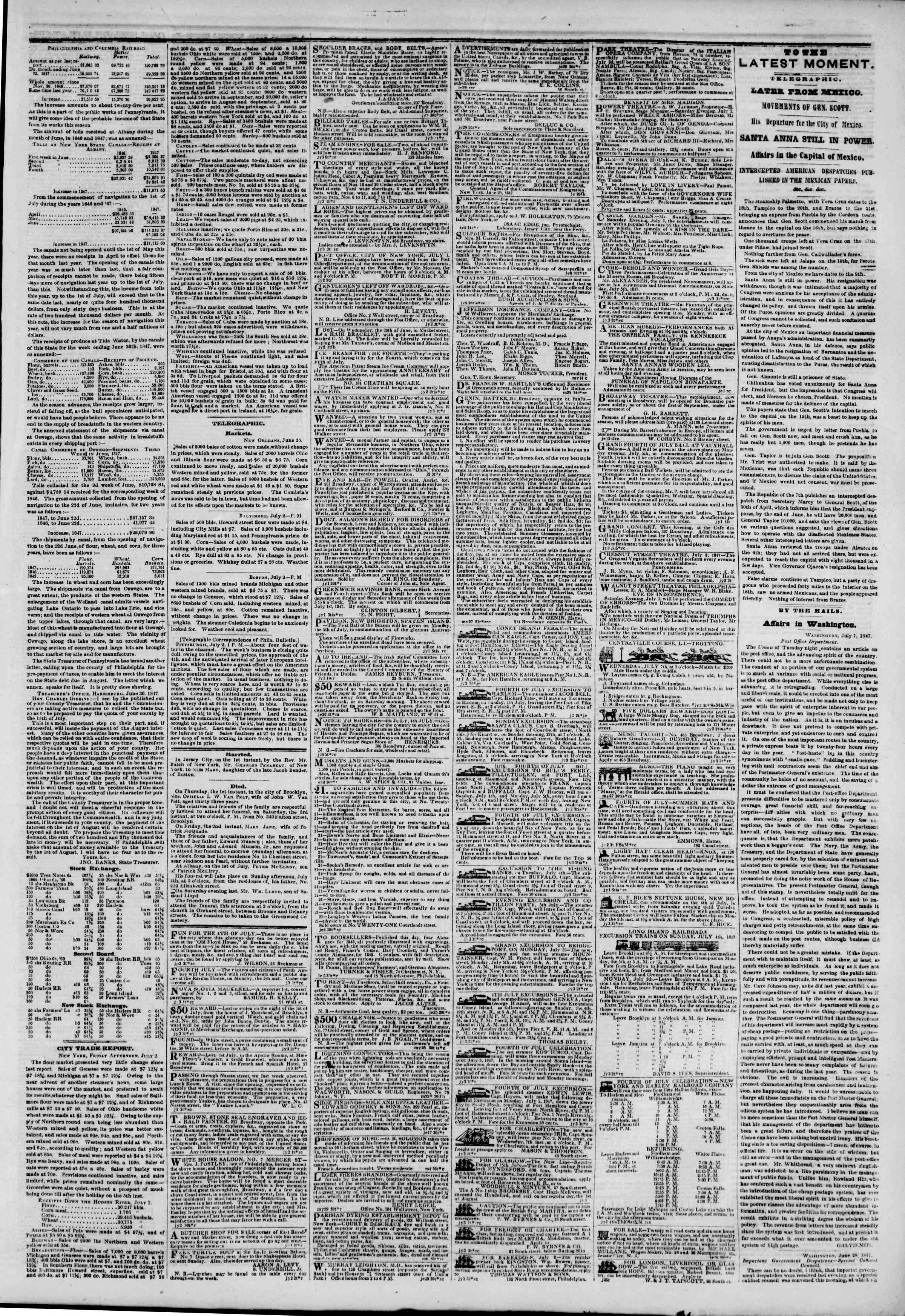 Newspaper of The New York Herald dated July 3, 1847 Page 3
