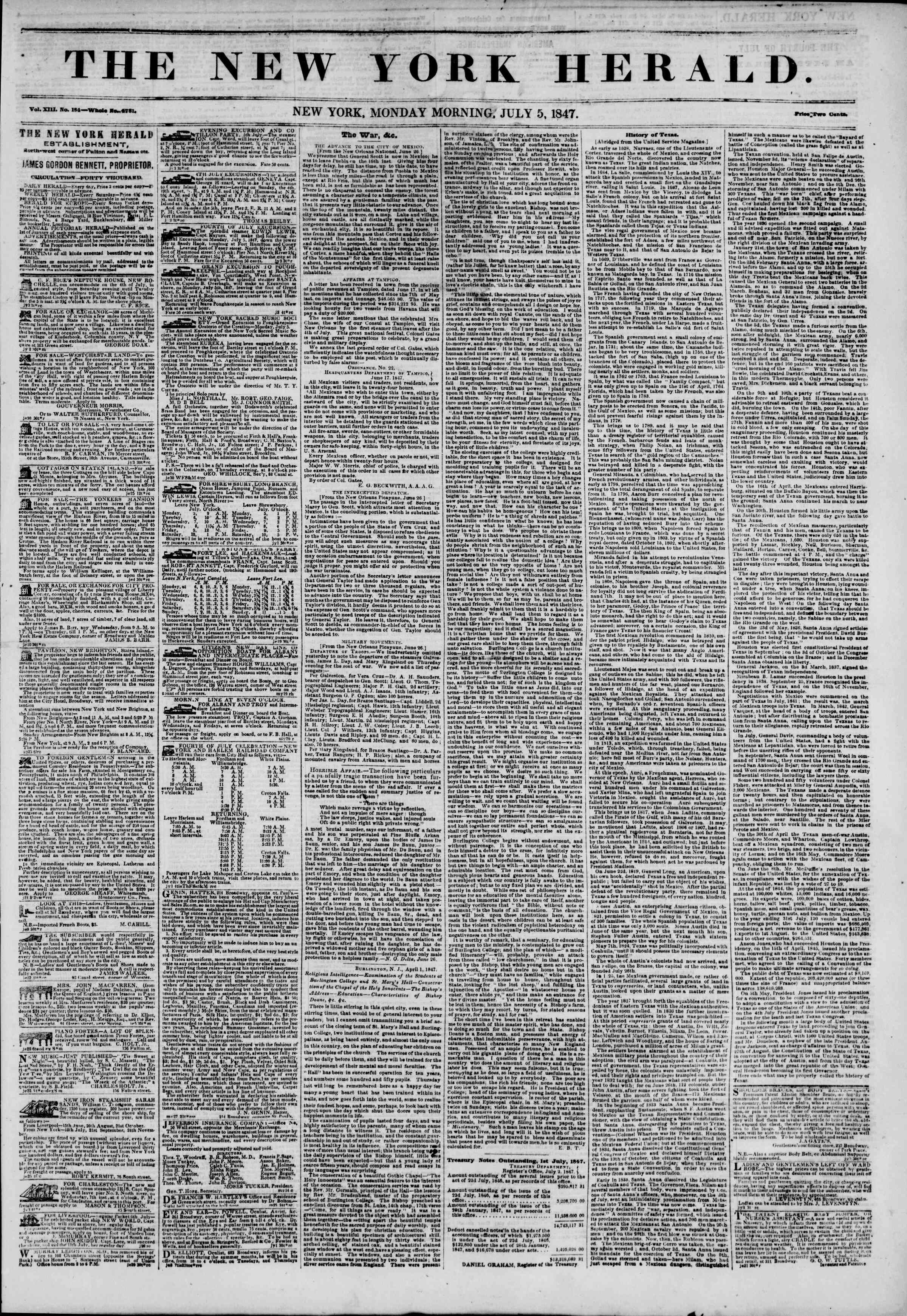 Newspaper of The New York Herald dated July 5, 1847 Page 1