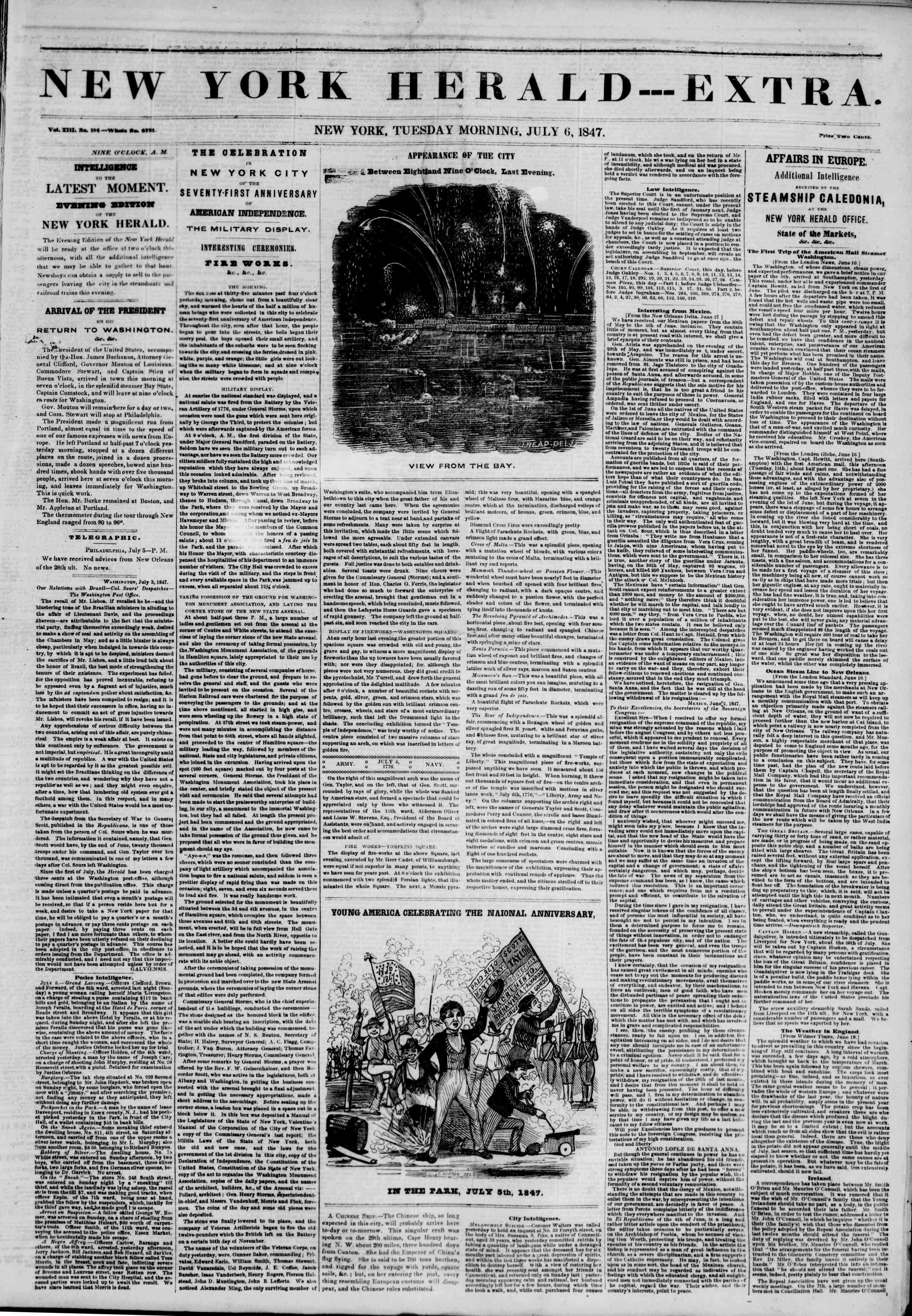 Newspaper of The New York Herald dated July 6, 1847 Page 1