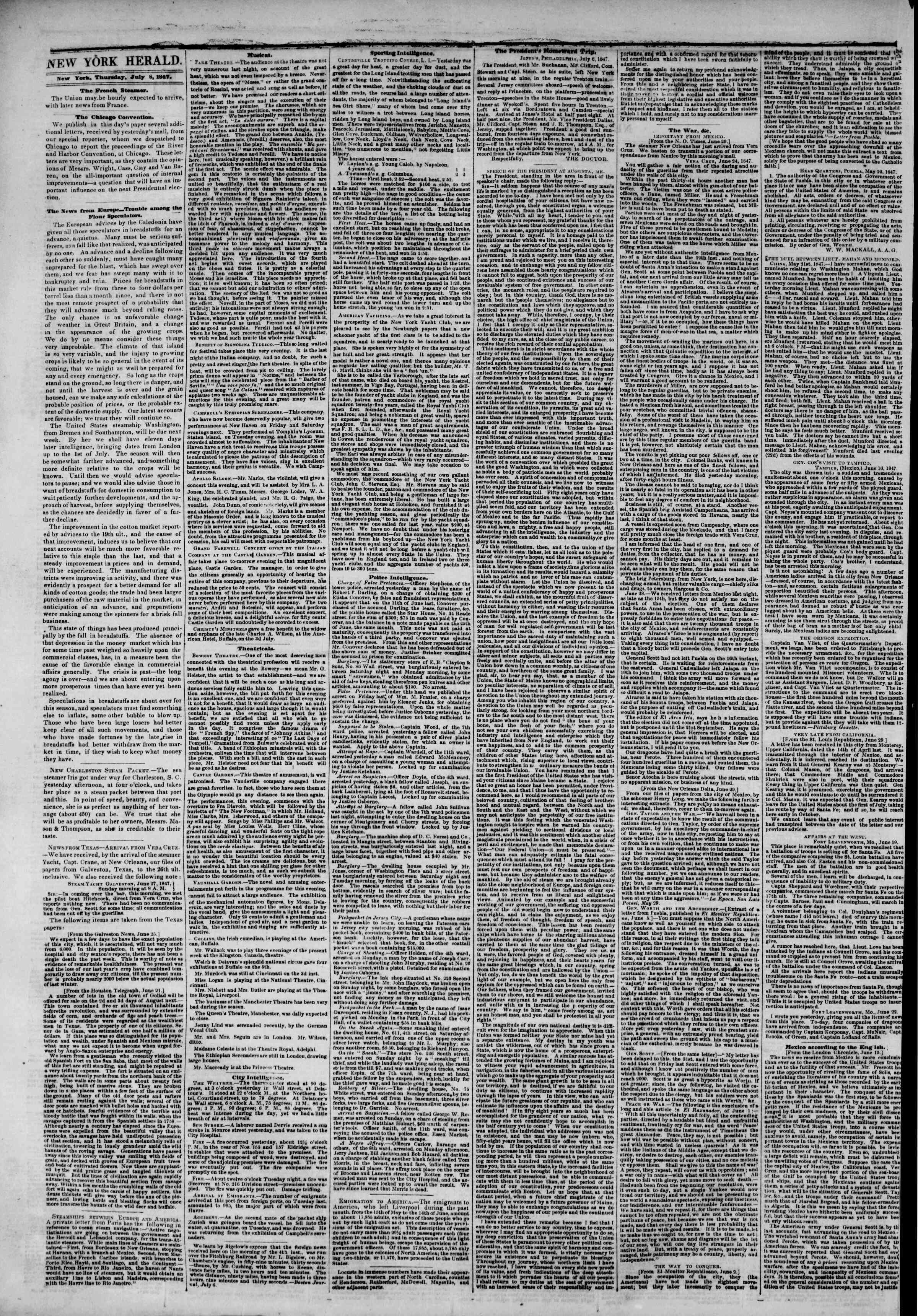 Newspaper of The New York Herald dated July 8, 1847 Page 2