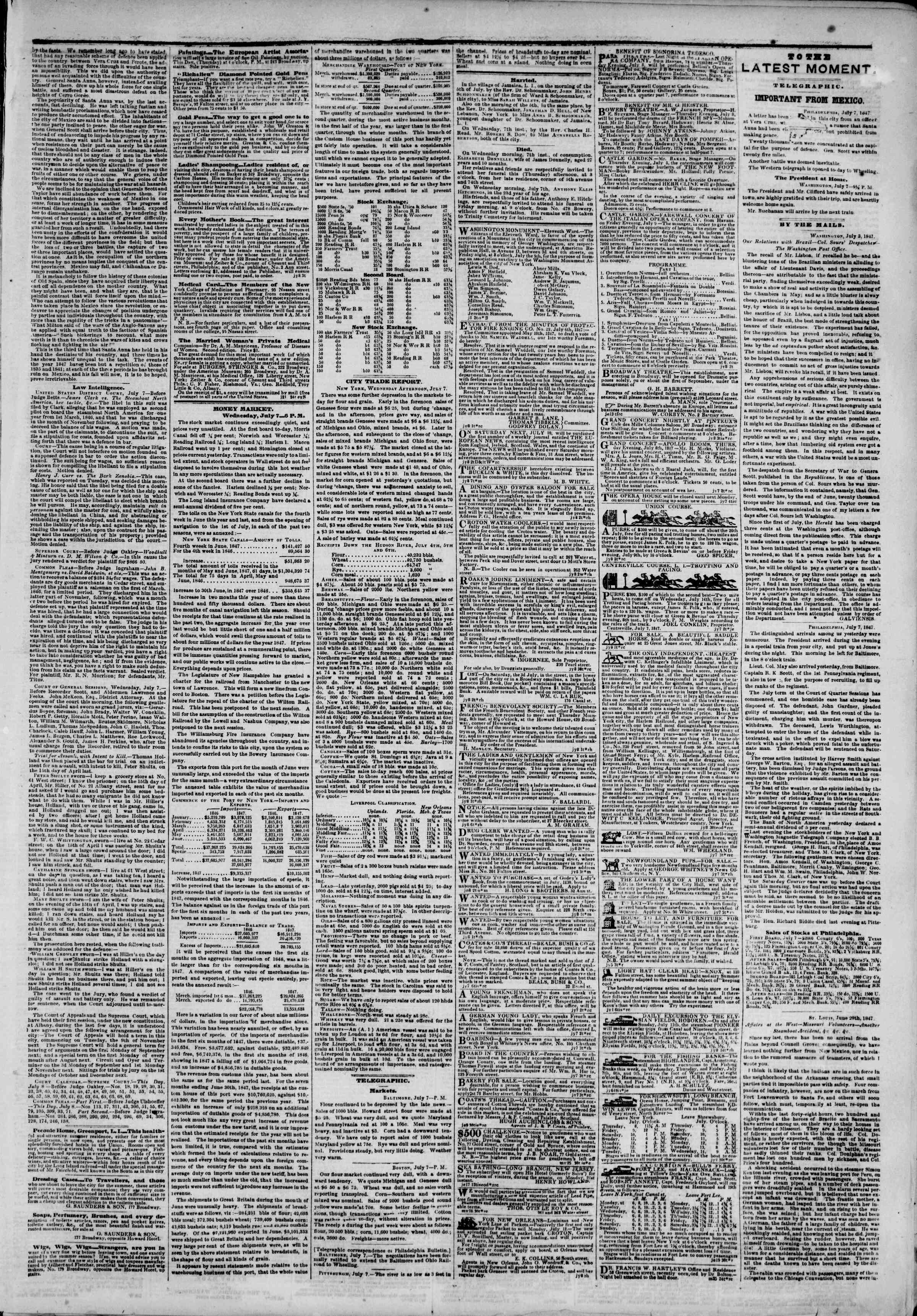 Newspaper of The New York Herald dated July 8, 1847 Page 3