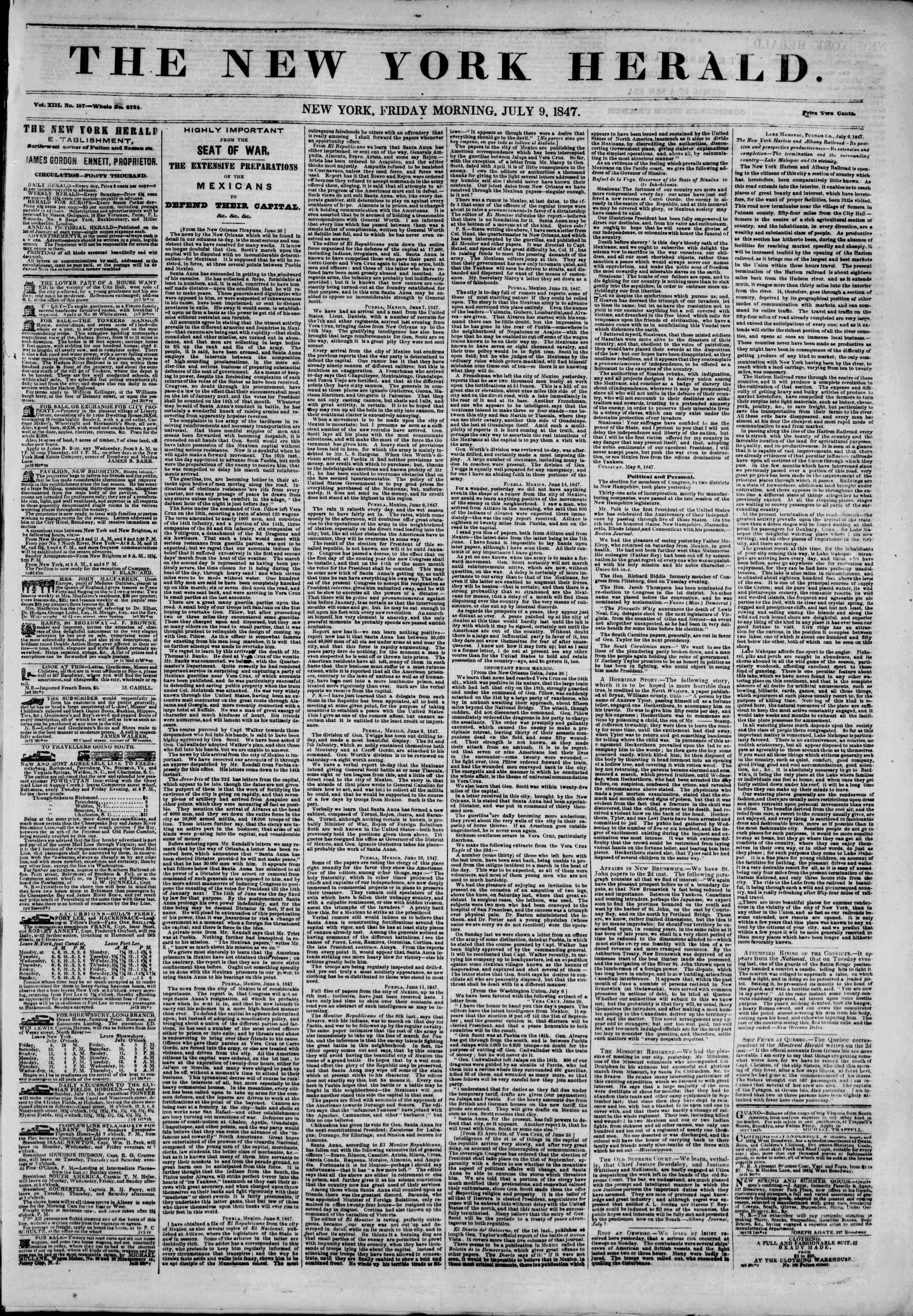 Newspaper of The New York Herald dated 9 Temmuz 1847 Page 1
