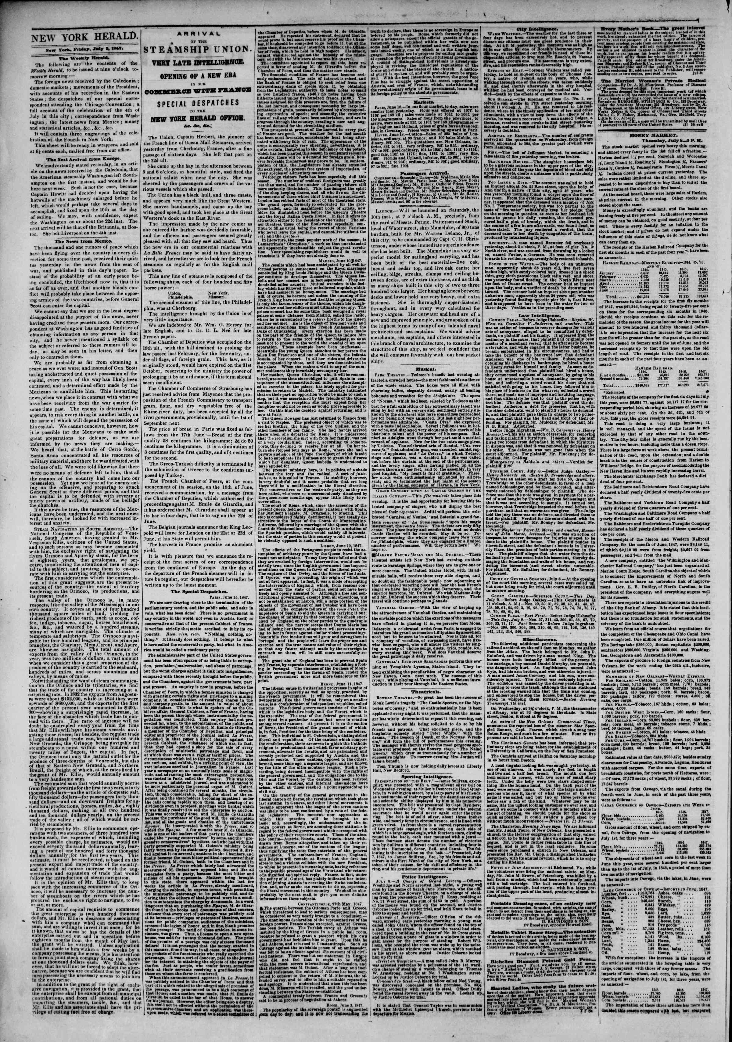 Newspaper of The New York Herald dated July 9, 1847 Page 2