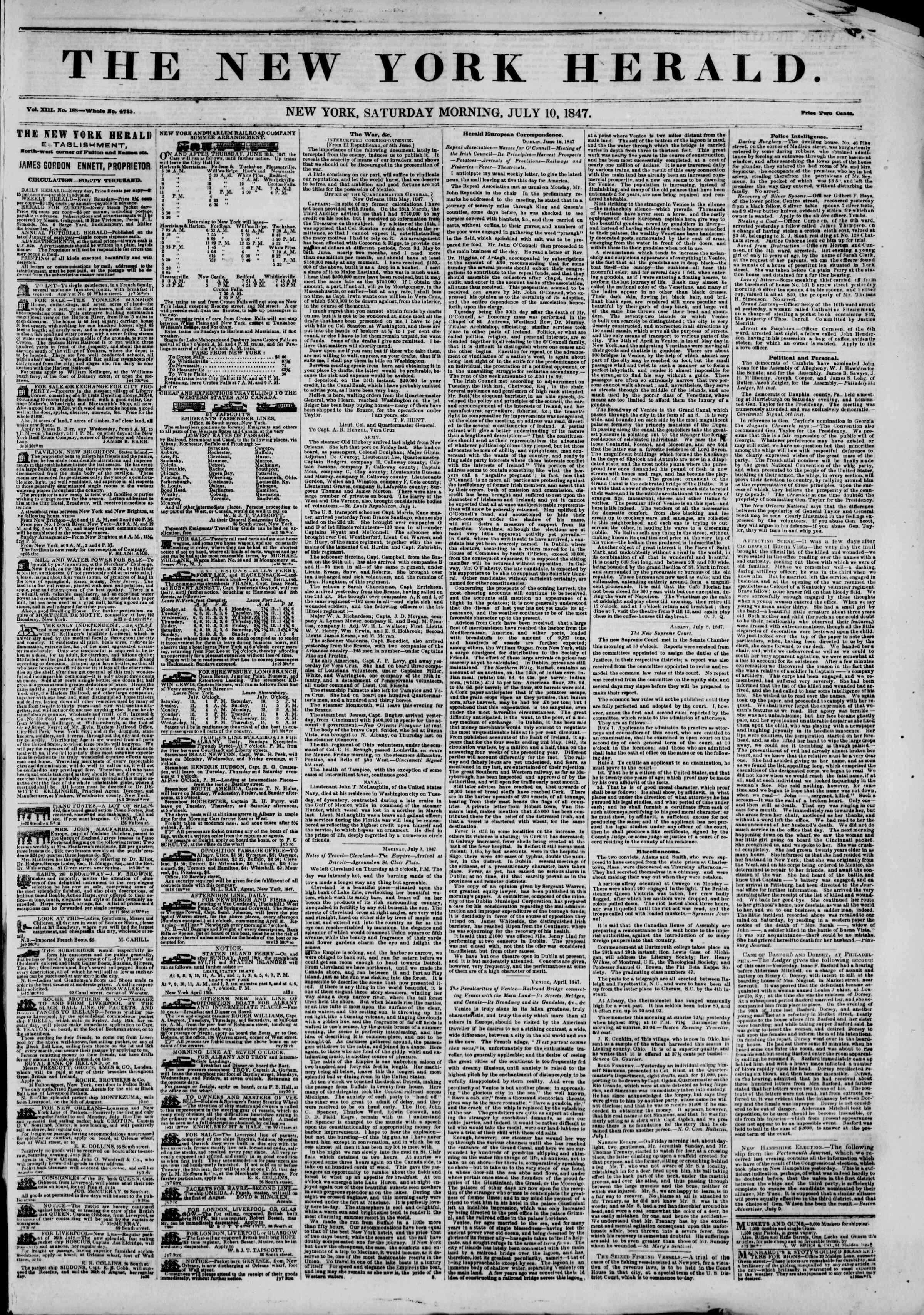 Newspaper of The New York Herald dated July 10, 1847 Page 1