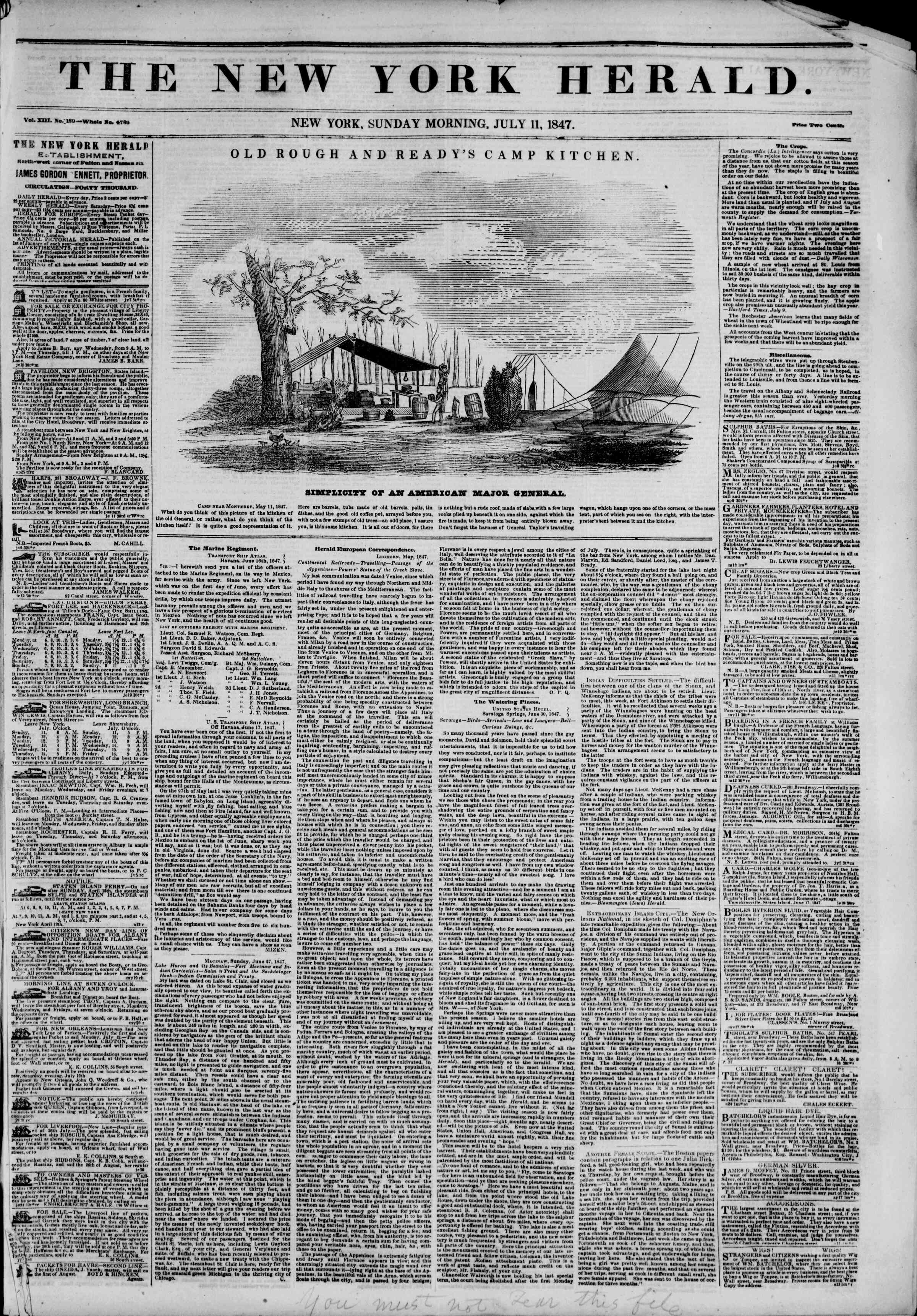 Newspaper of The New York Herald dated July 11, 1847 Page 1