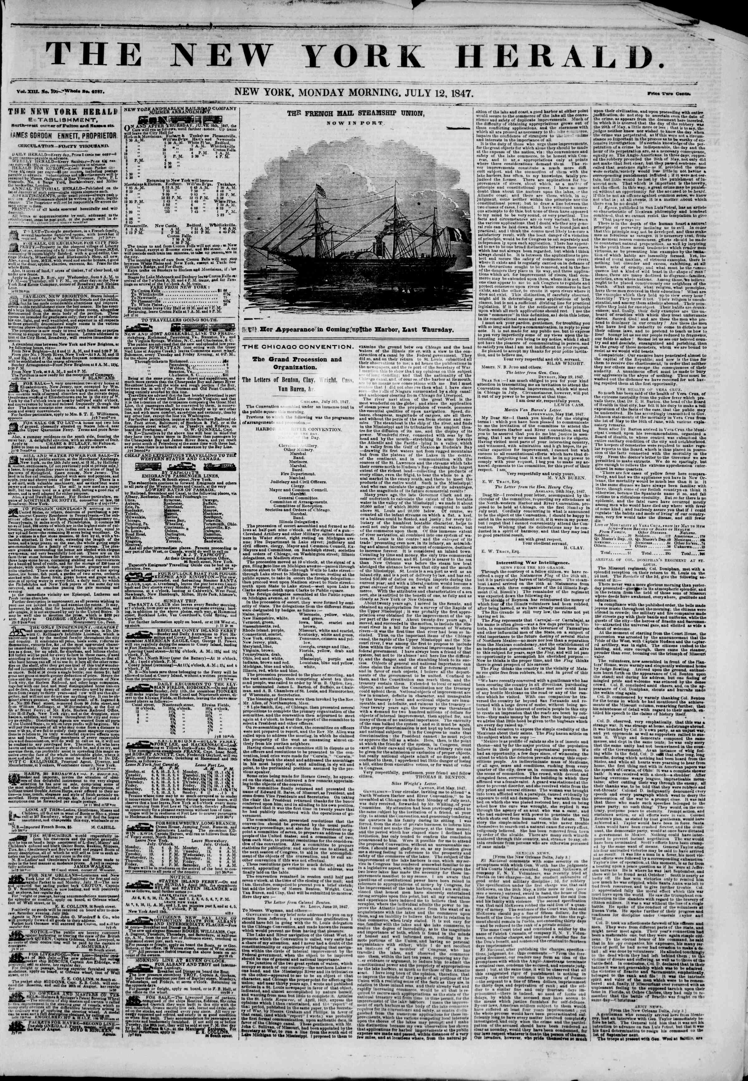 Newspaper of The New York Herald dated July 12, 1847 Page 1