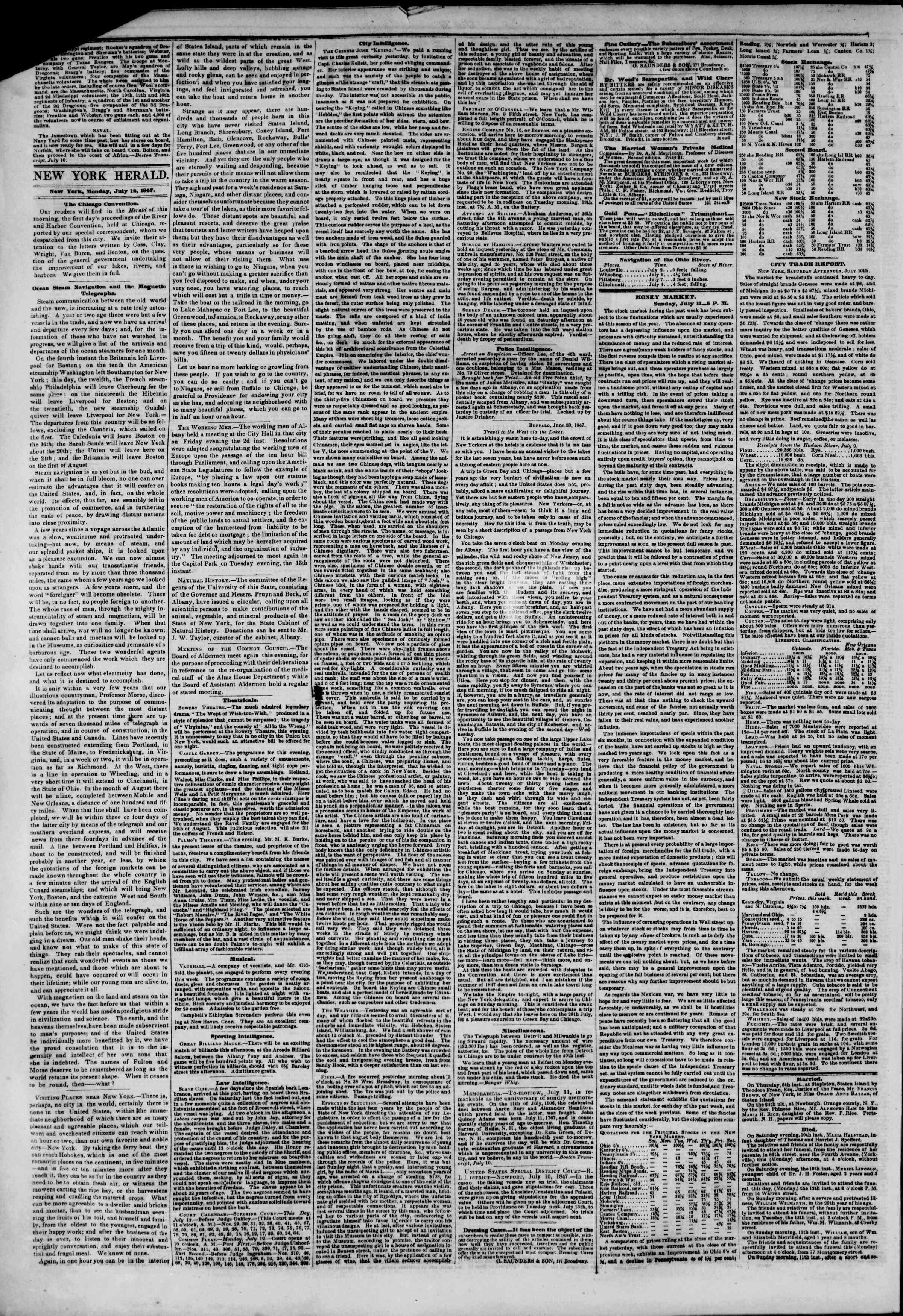 Newspaper of The New York Herald dated July 12, 1847 Page 2