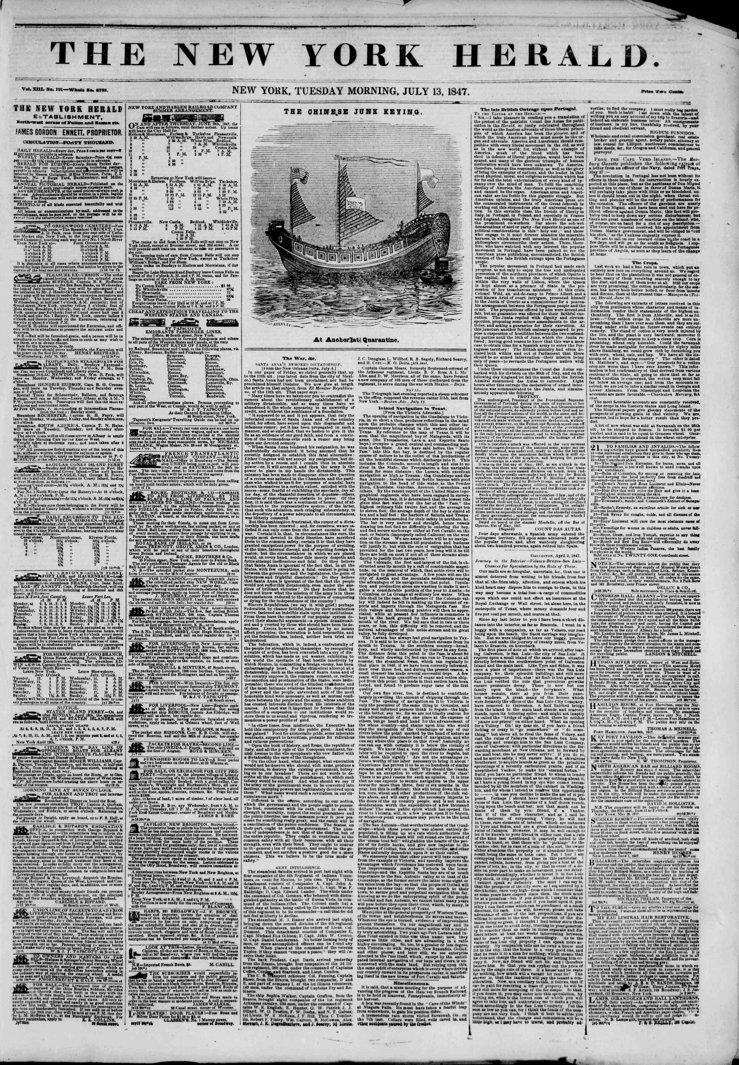 Newspaper of The New York Herald dated July 13, 1847 Page 1