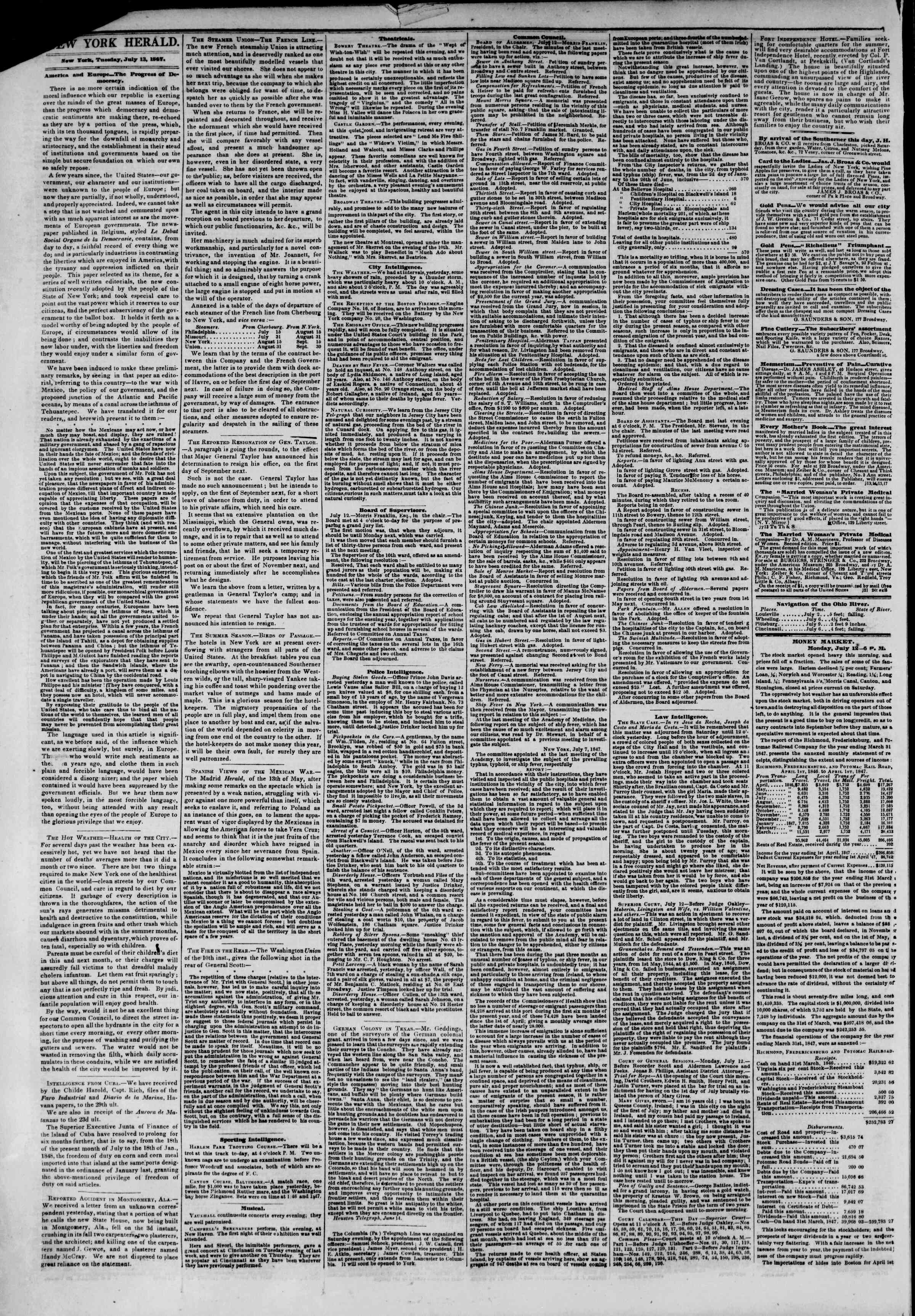 Newspaper of The New York Herald dated 13 Temmuz 1847 Page 2