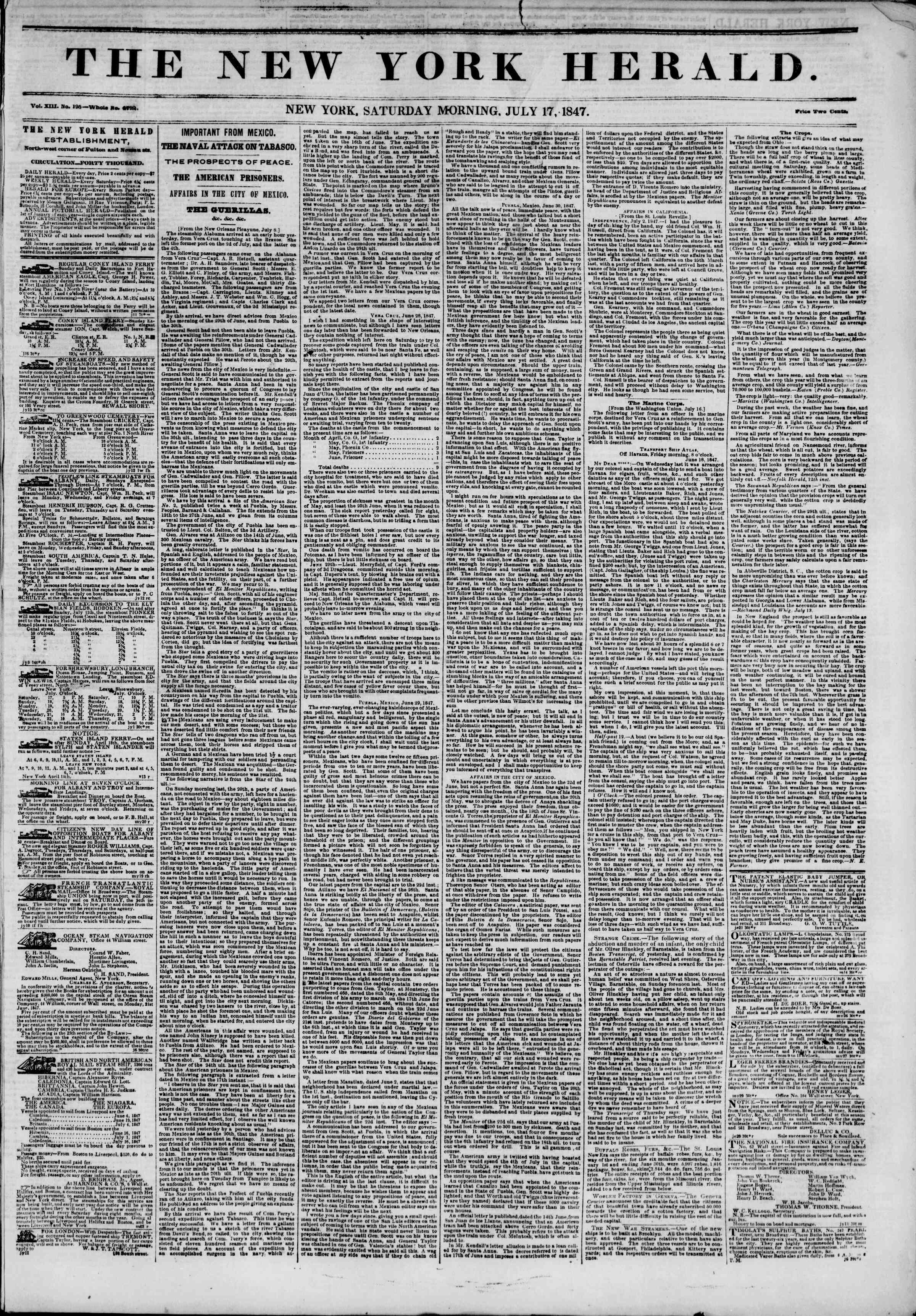 Newspaper of The New York Herald dated July 17, 1847 Page 1
