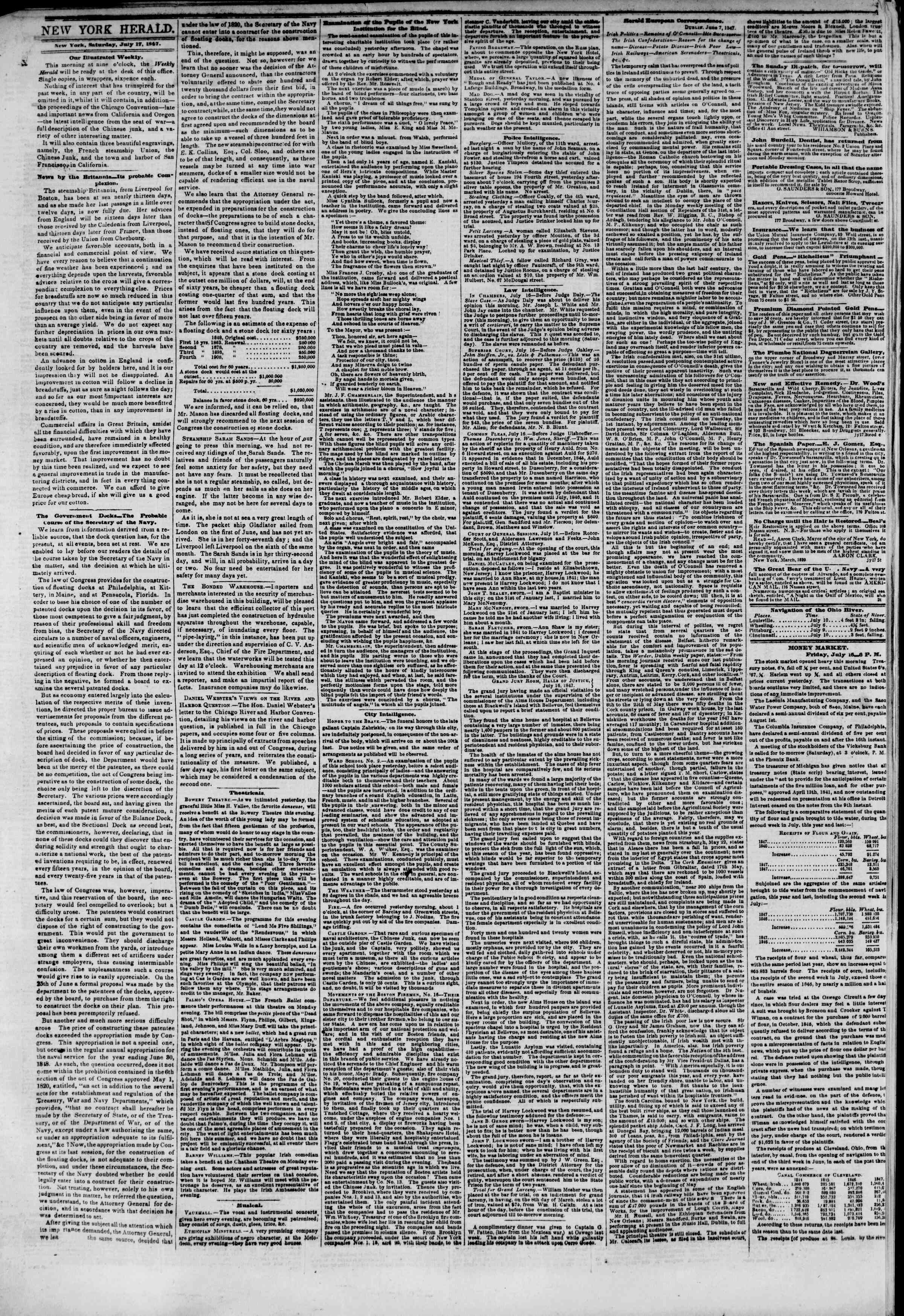 Newspaper of The New York Herald dated July 17, 1847 Page 2