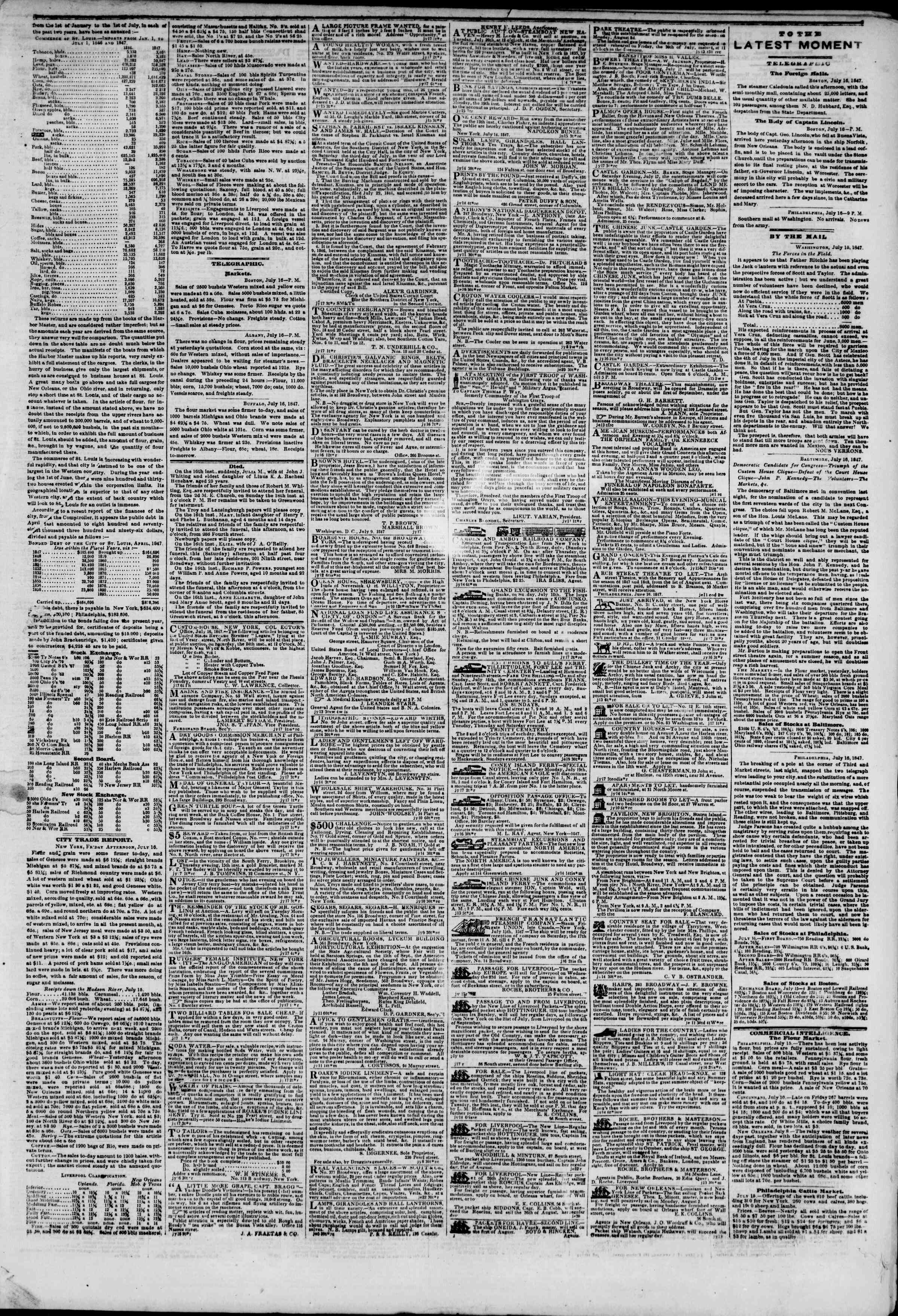 Newspaper of The New York Herald dated July 17, 1847 Page 3