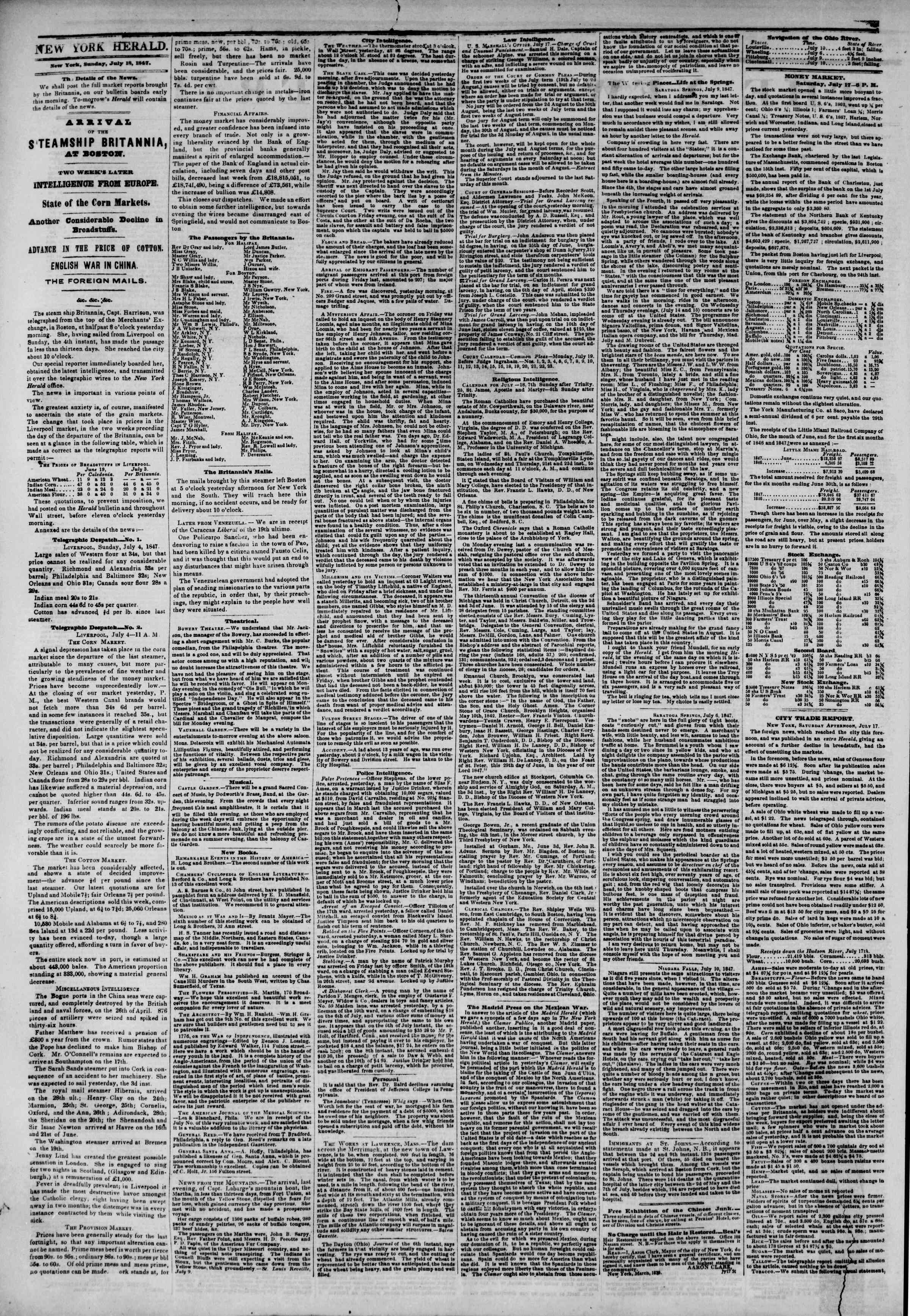 Newspaper of The New York Herald dated July 18, 1847 Page 2