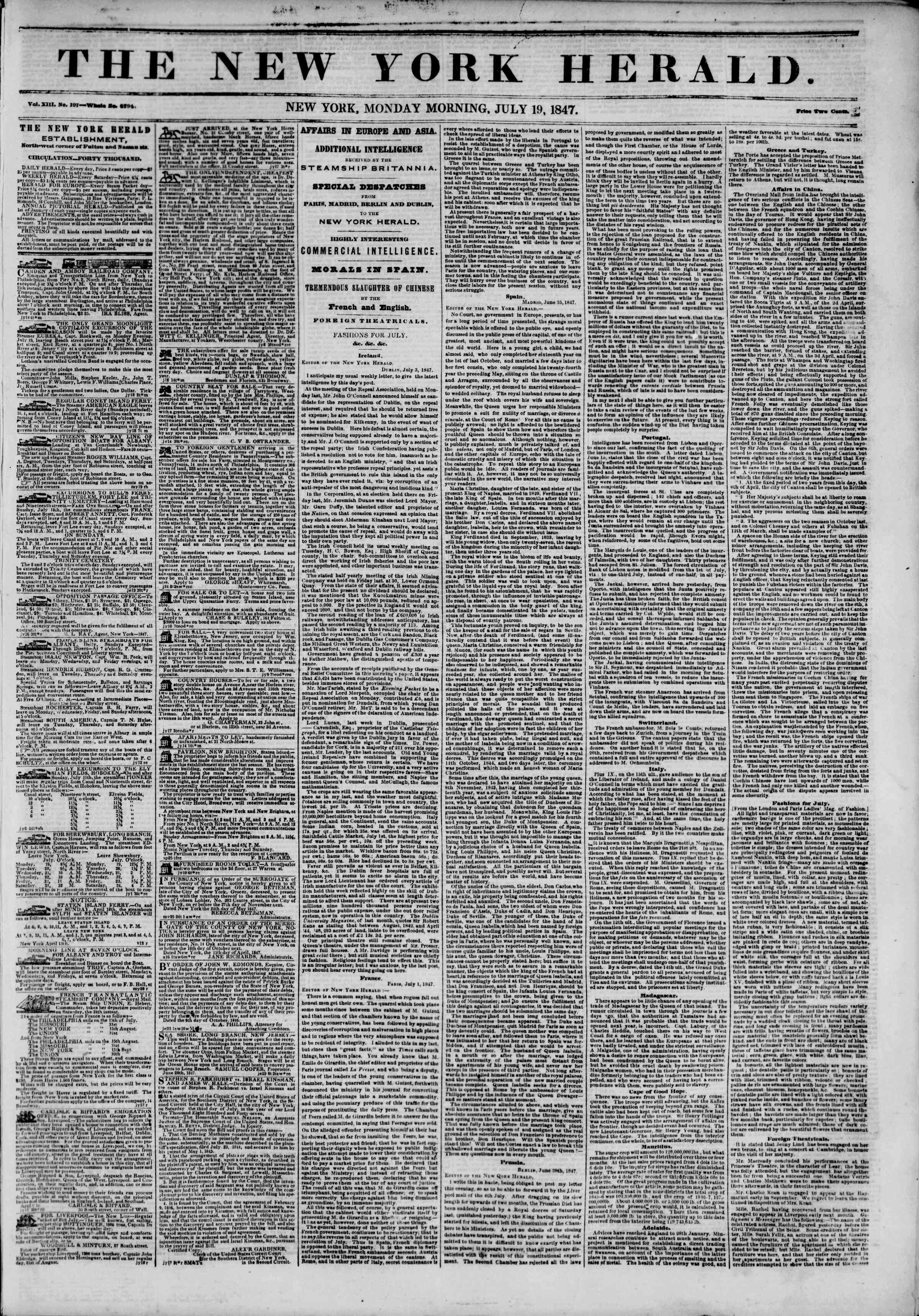 Newspaper of The New York Herald dated July 19, 1847 Page 1