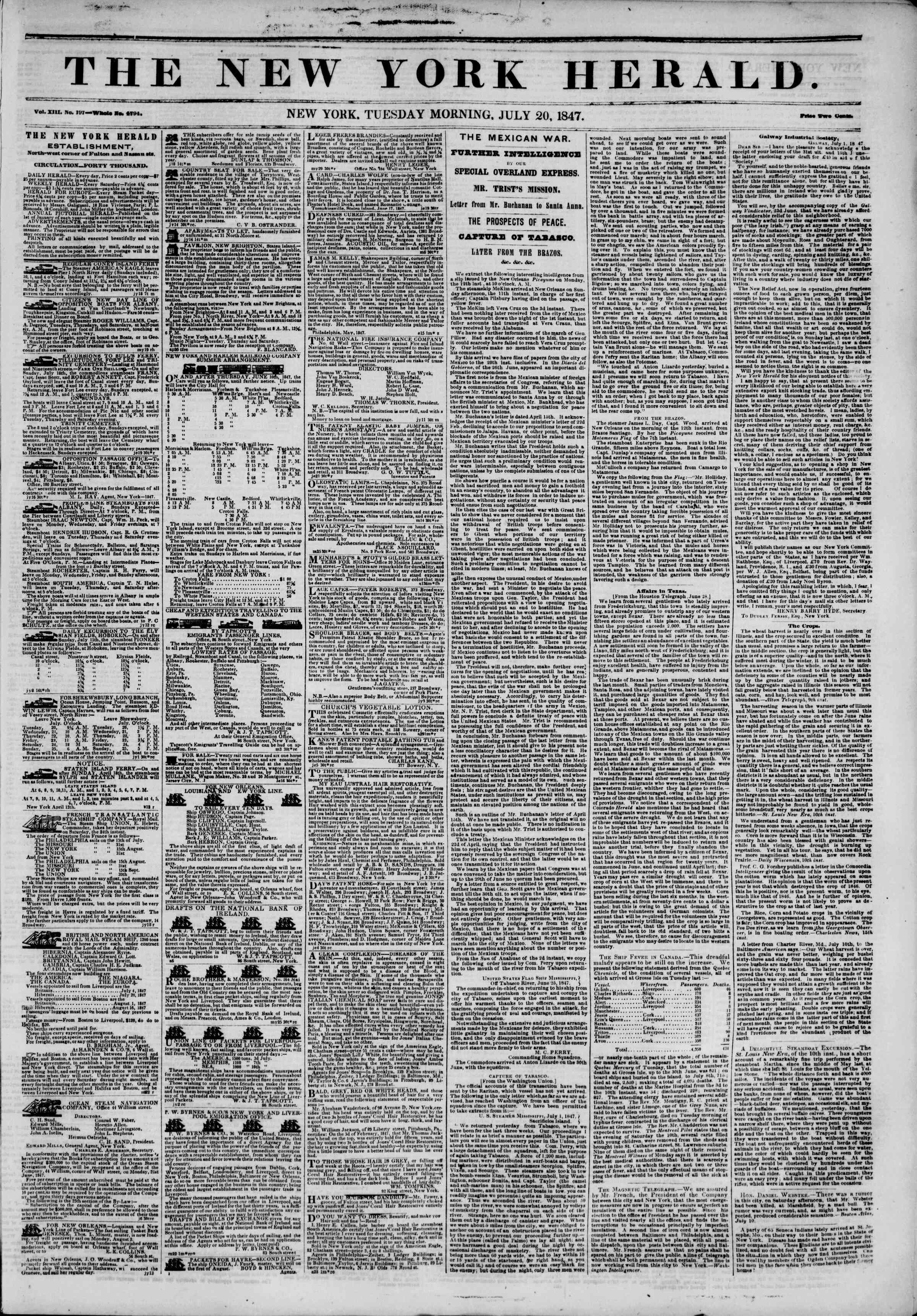 Newspaper of The New York Herald dated July 20, 1847 Page 1