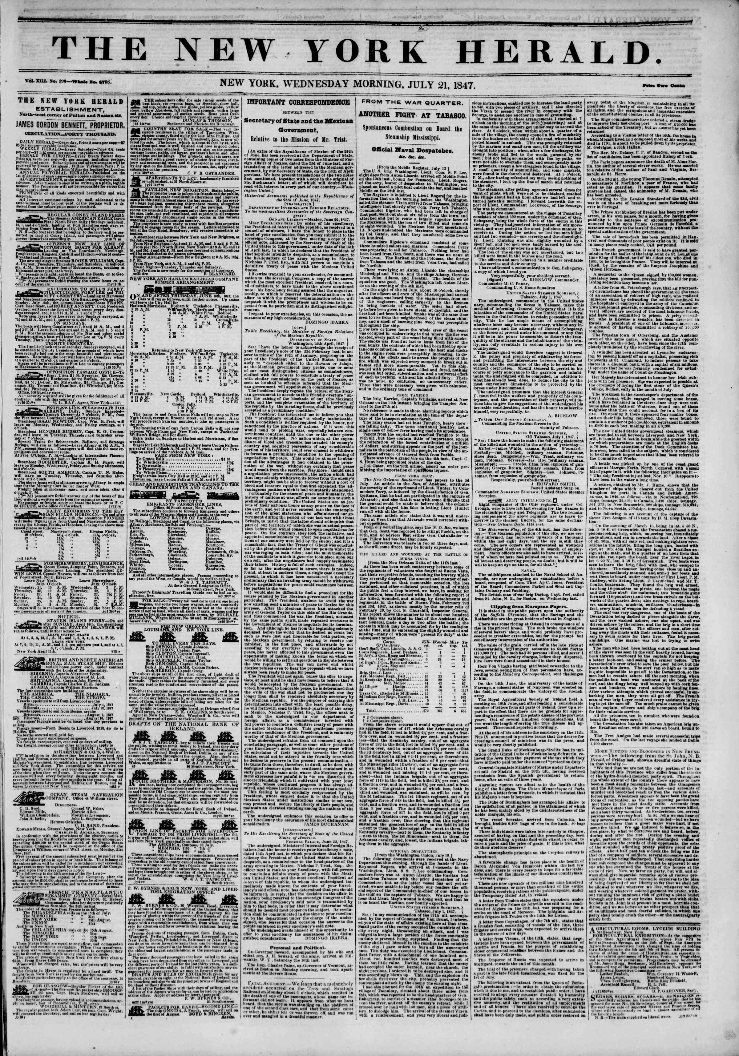 Newspaper of The New York Herald dated July 21, 1847 Page 1