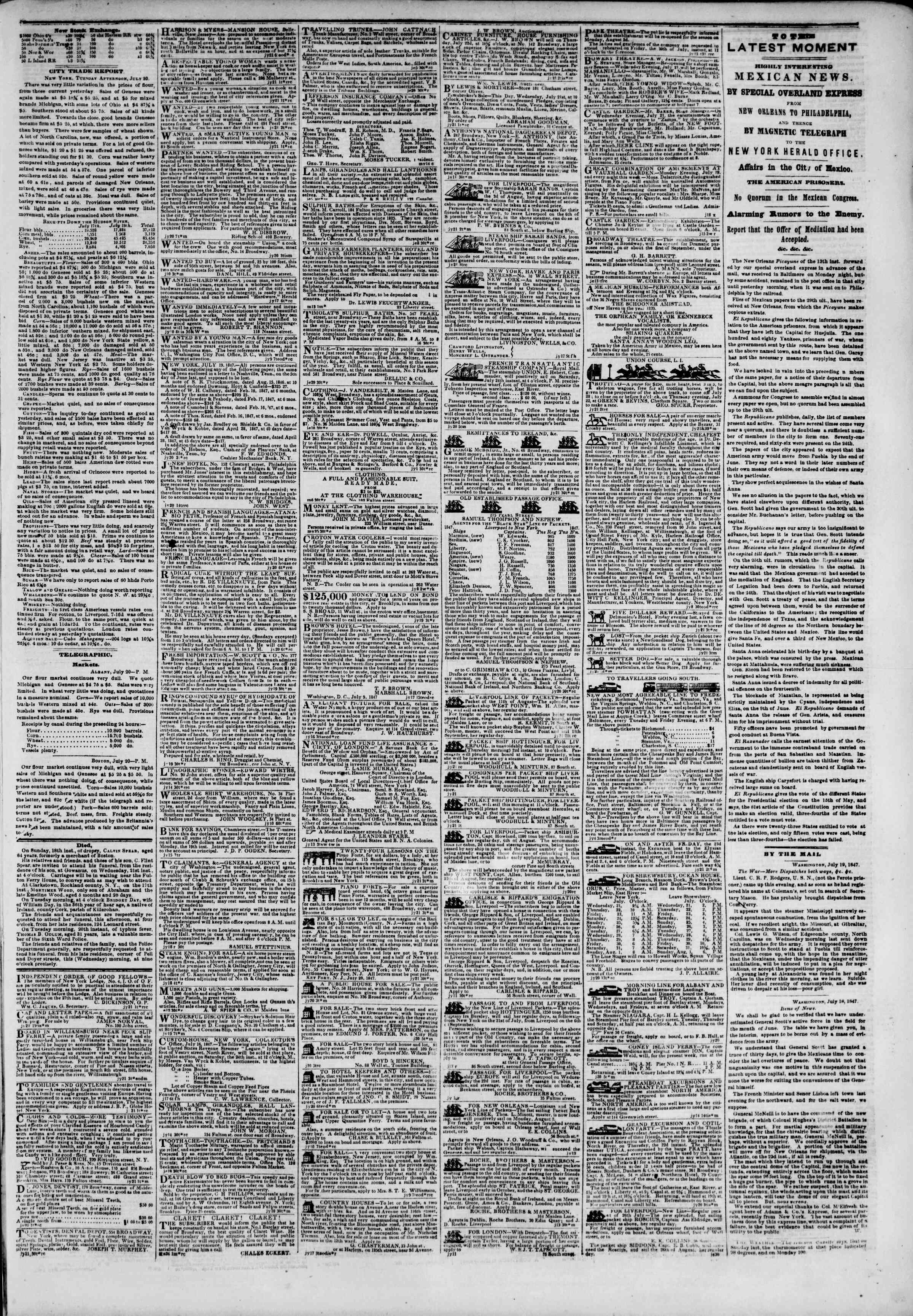 Newspaper of The New York Herald dated July 21, 1847 Page 3