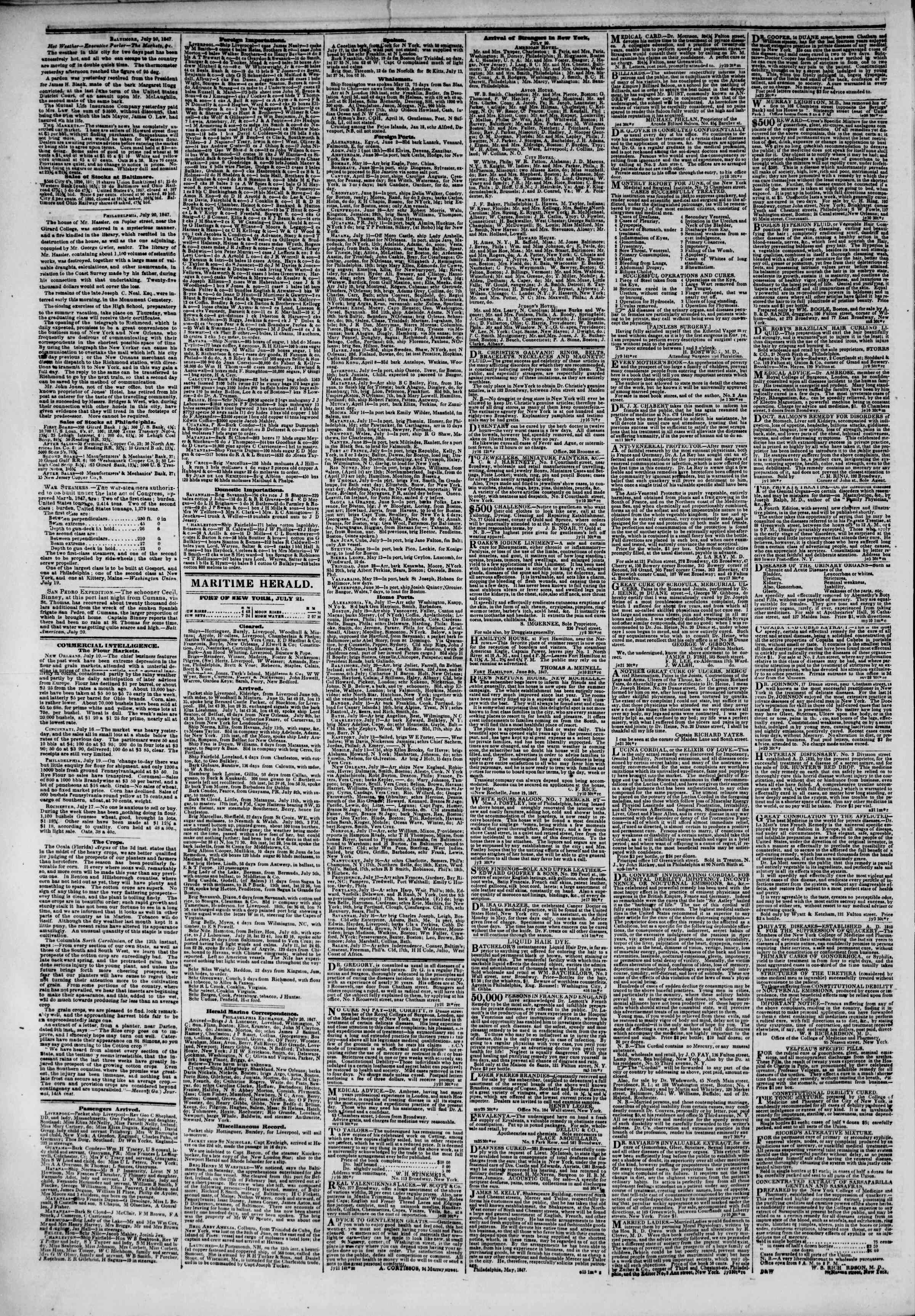 Newspaper of The New York Herald dated July 21, 1847 Page 4