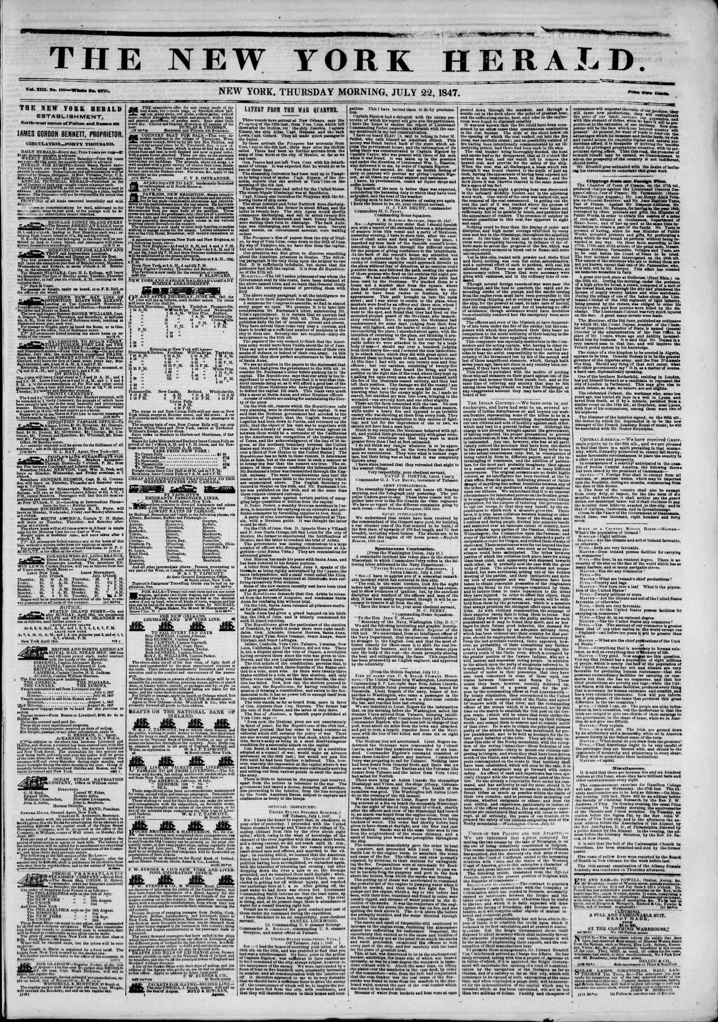 Newspaper of The New York Herald dated July 22, 1847 Page 1