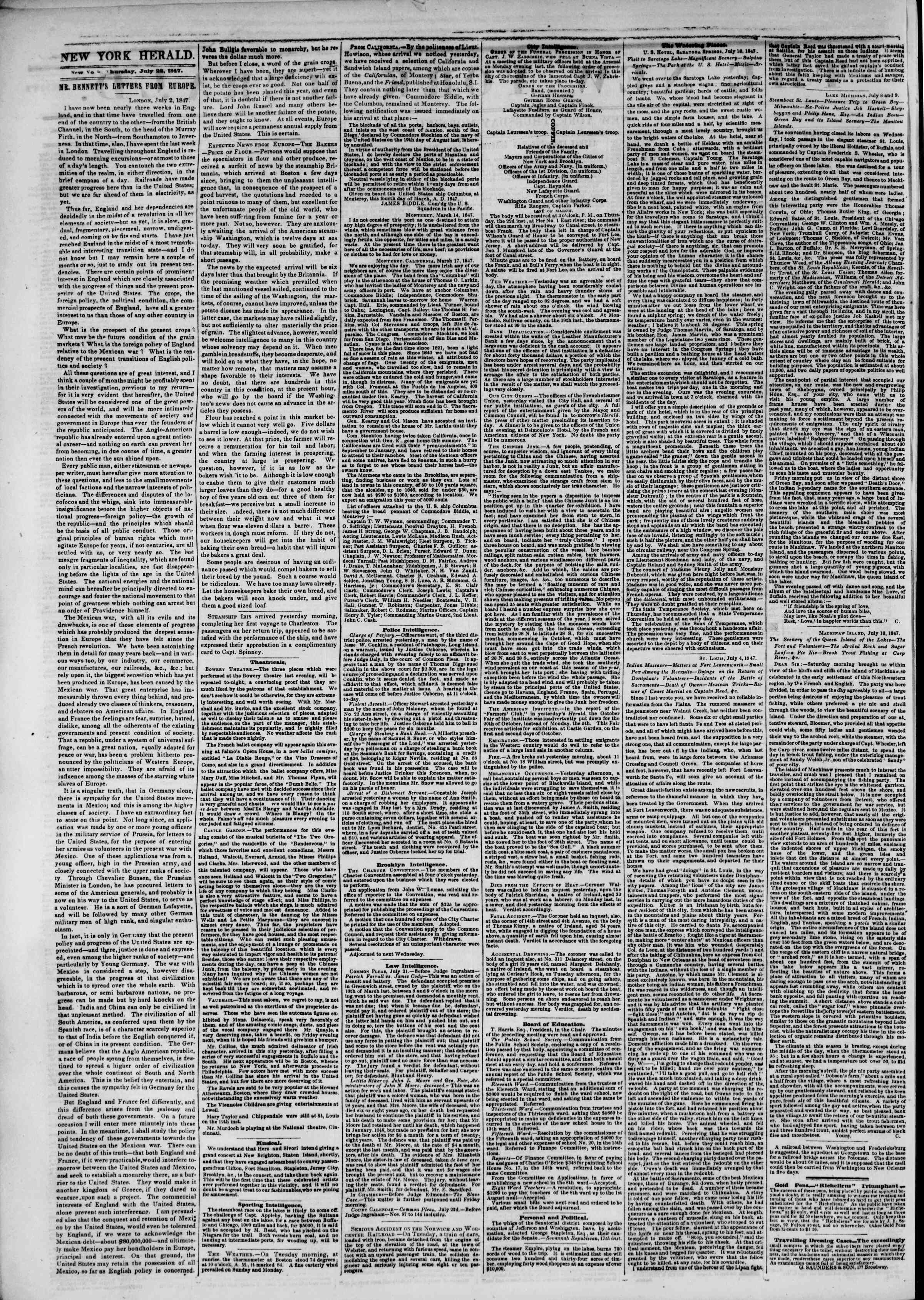 Newspaper of The New York Herald dated July 22, 1847 Page 2