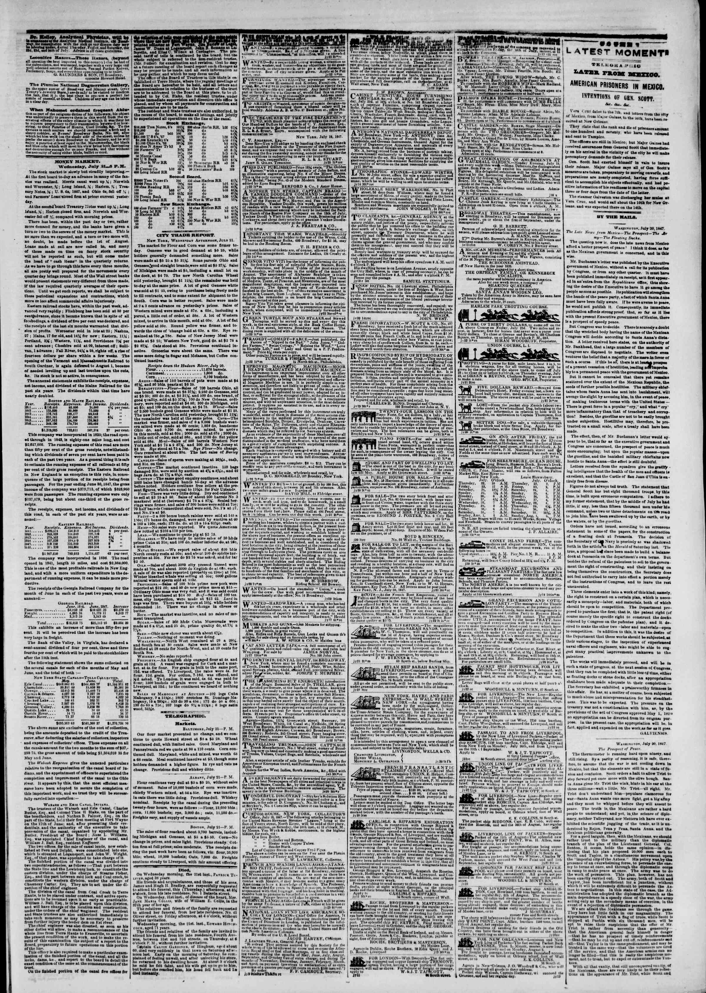Newspaper of The New York Herald dated July 22, 1847 Page 3