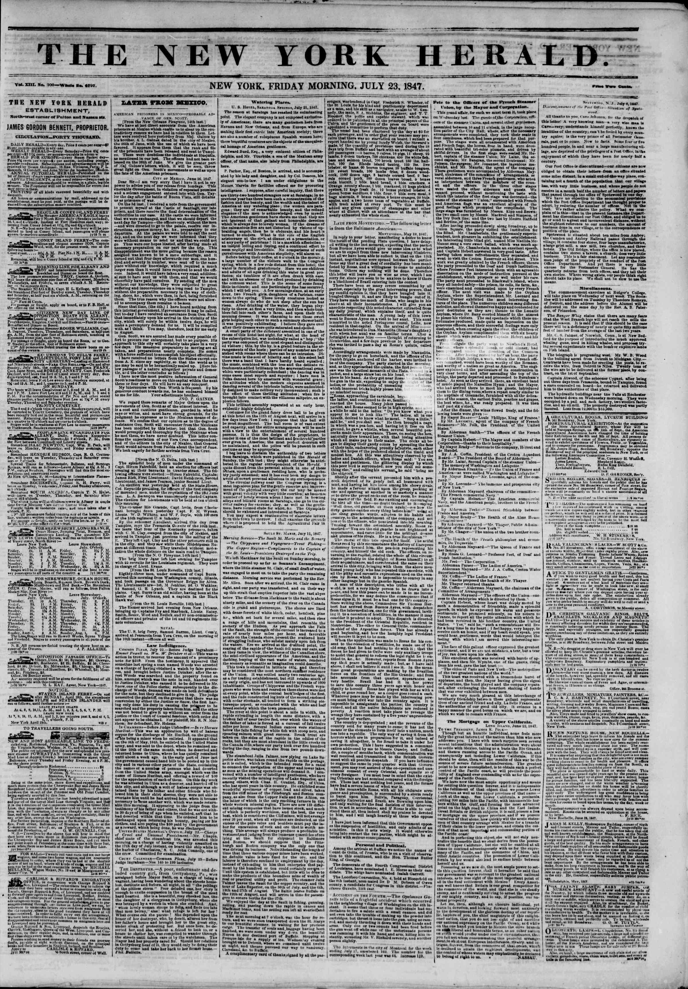 Newspaper of The New York Herald dated July 23, 1847 Page 1