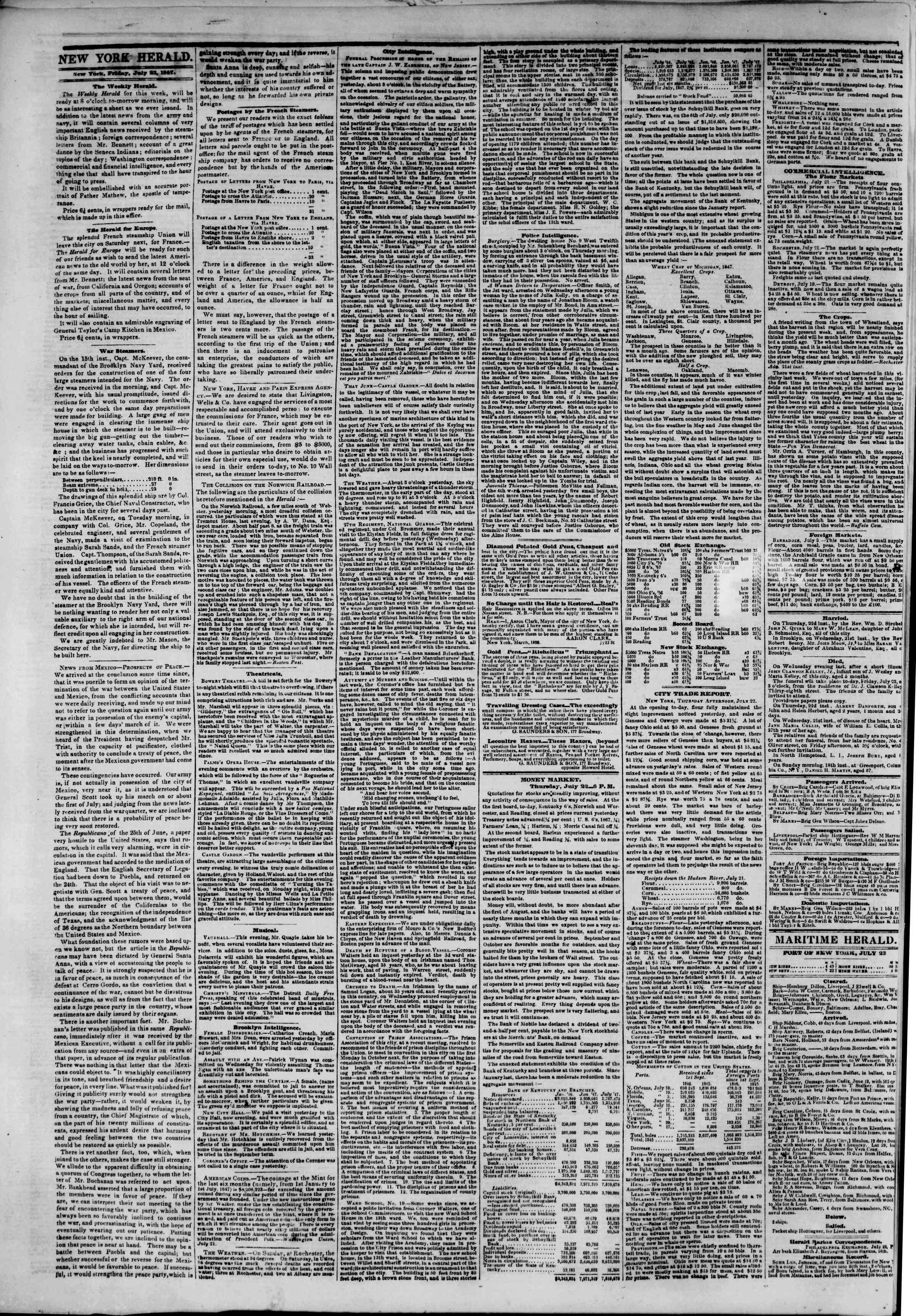 Newspaper of The New York Herald dated July 23, 1847 Page 2