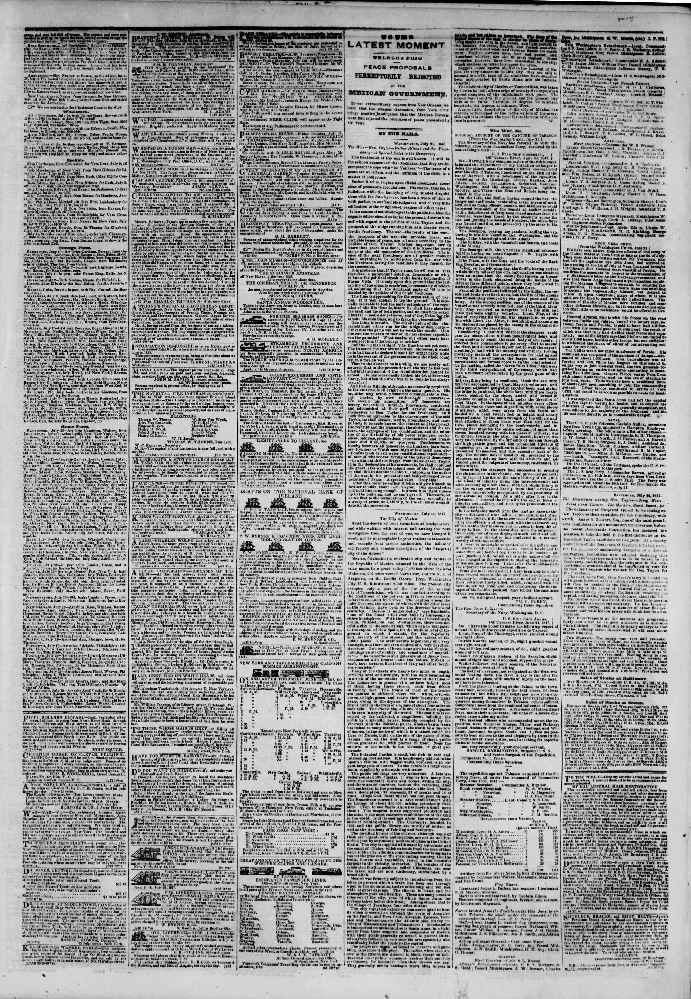 23 Temmuz 1847 tarihli The New York Herald Gazetesi Sayfa 3