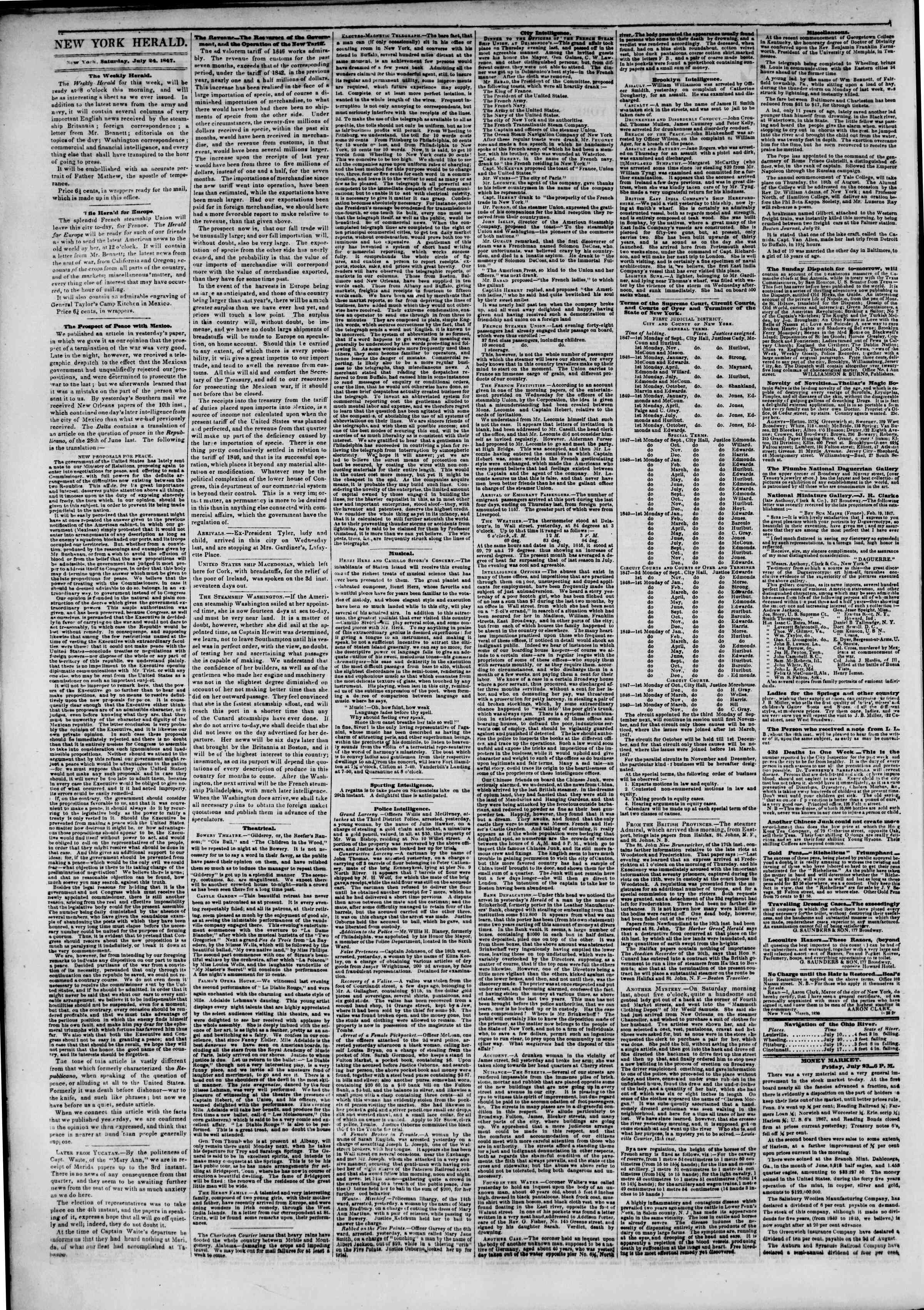 Newspaper of The New York Herald dated July 24, 1847 Page 2