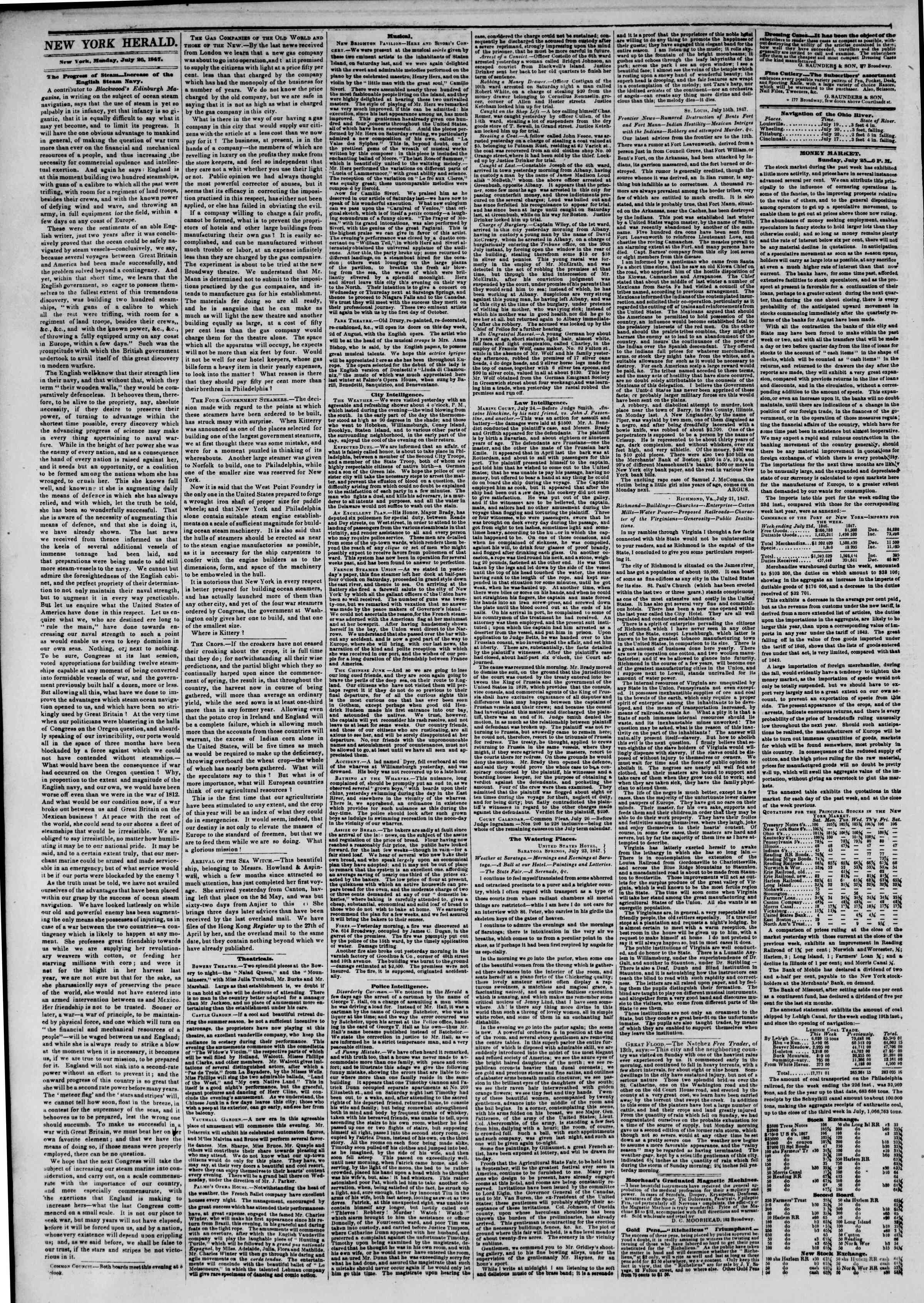 Newspaper of The New York Herald dated July 26, 1847 Page 2