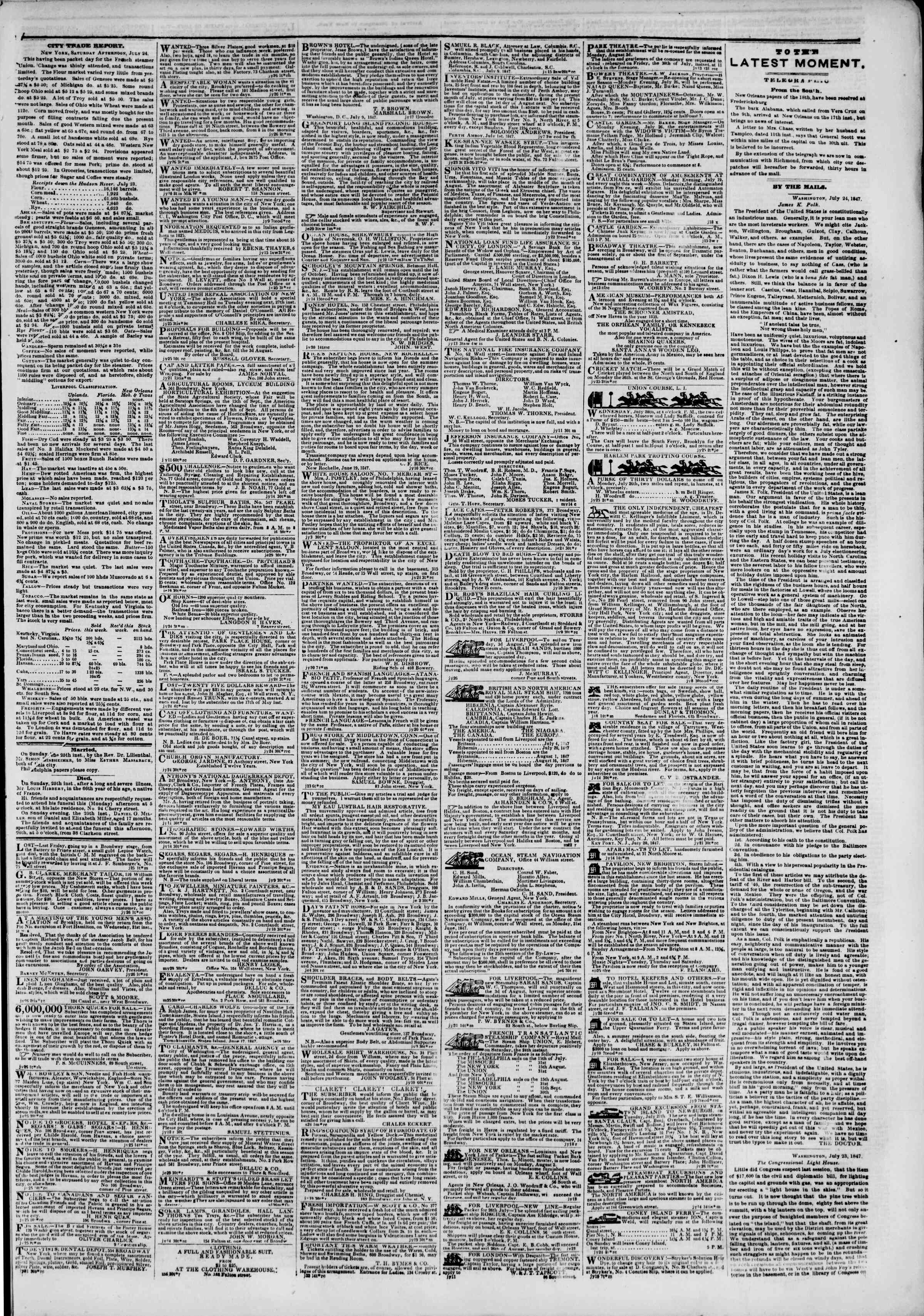Newspaper of The New York Herald dated July 26, 1847 Page 3