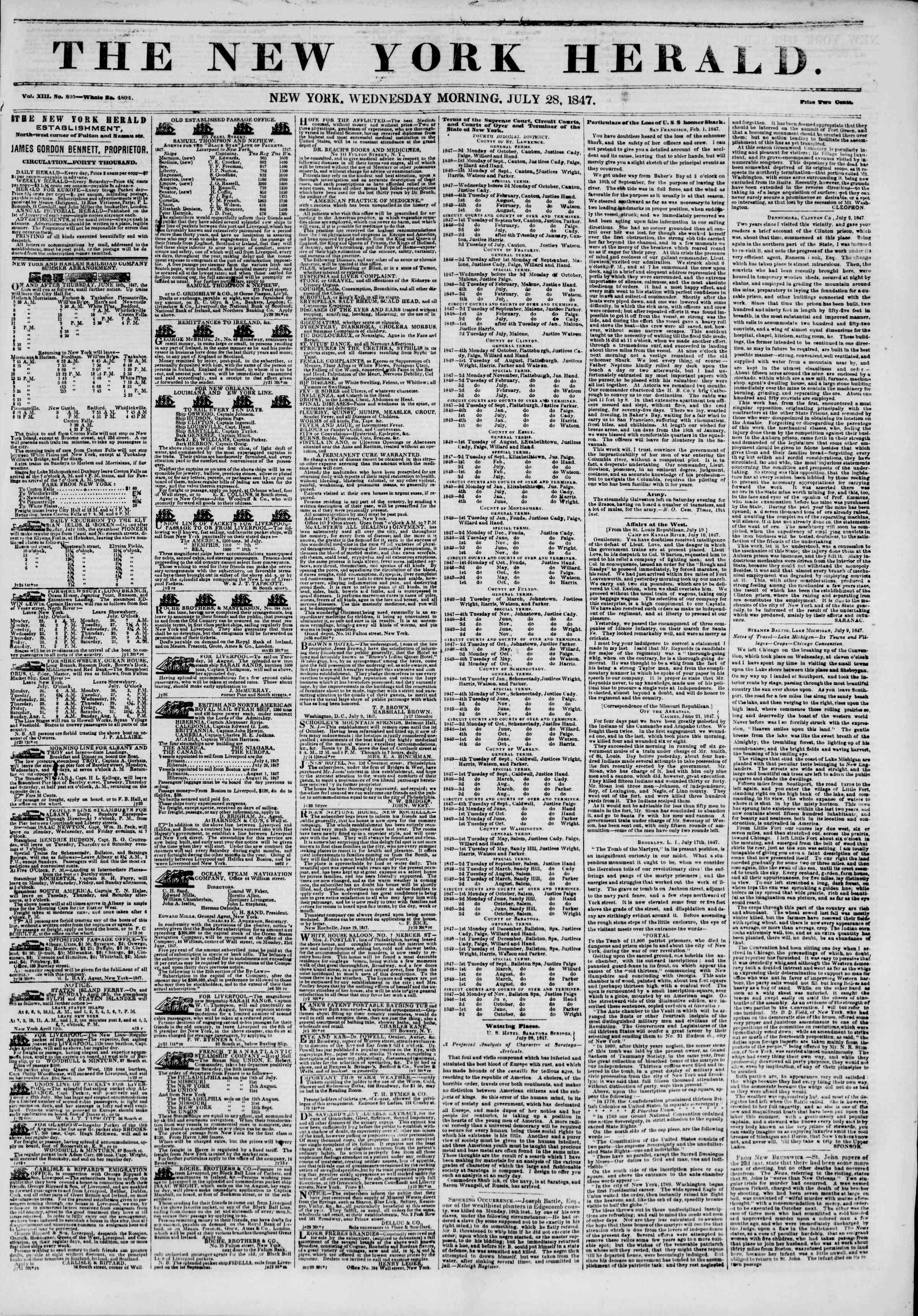 Newspaper of The New York Herald dated July 28, 1847 Page 1