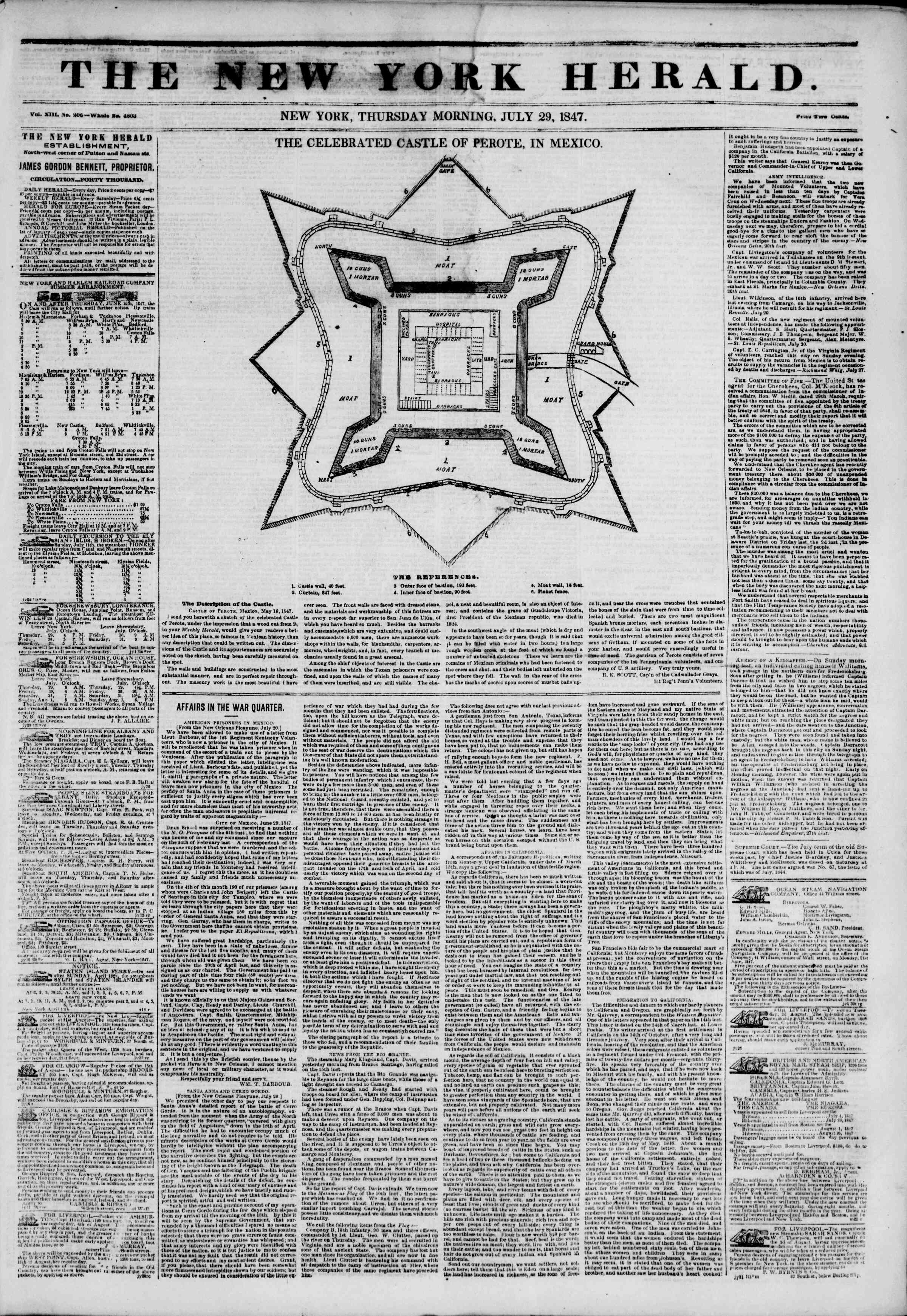 Newspaper of The New York Herald dated July 29, 1847 Page 1