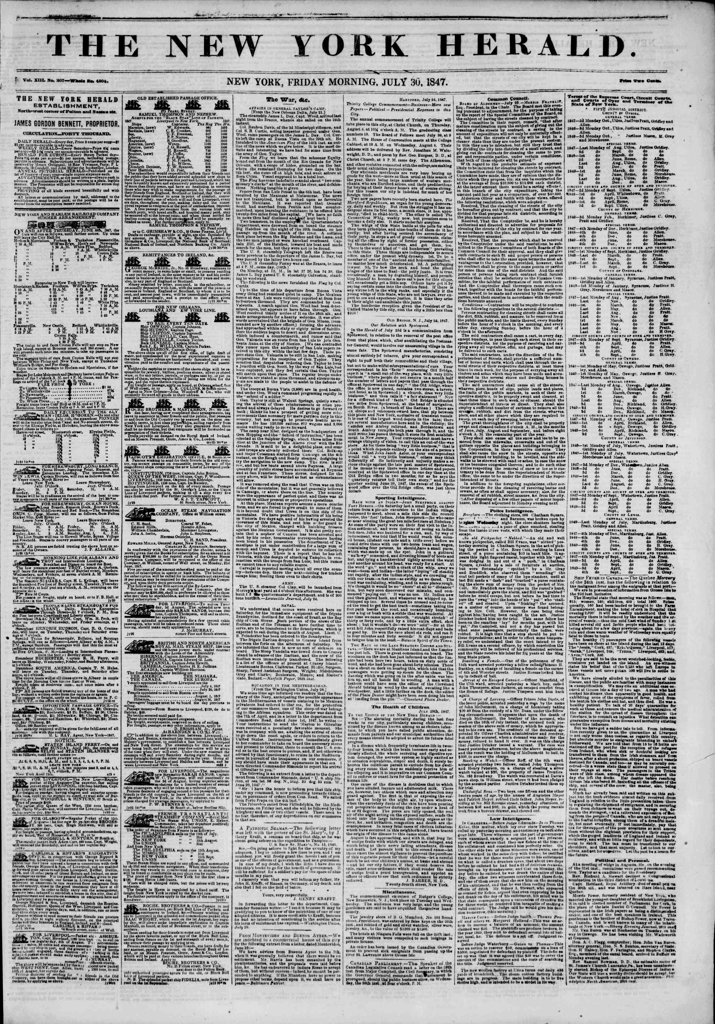 Newspaper of The New York Herald dated July 30, 1847 Page 1