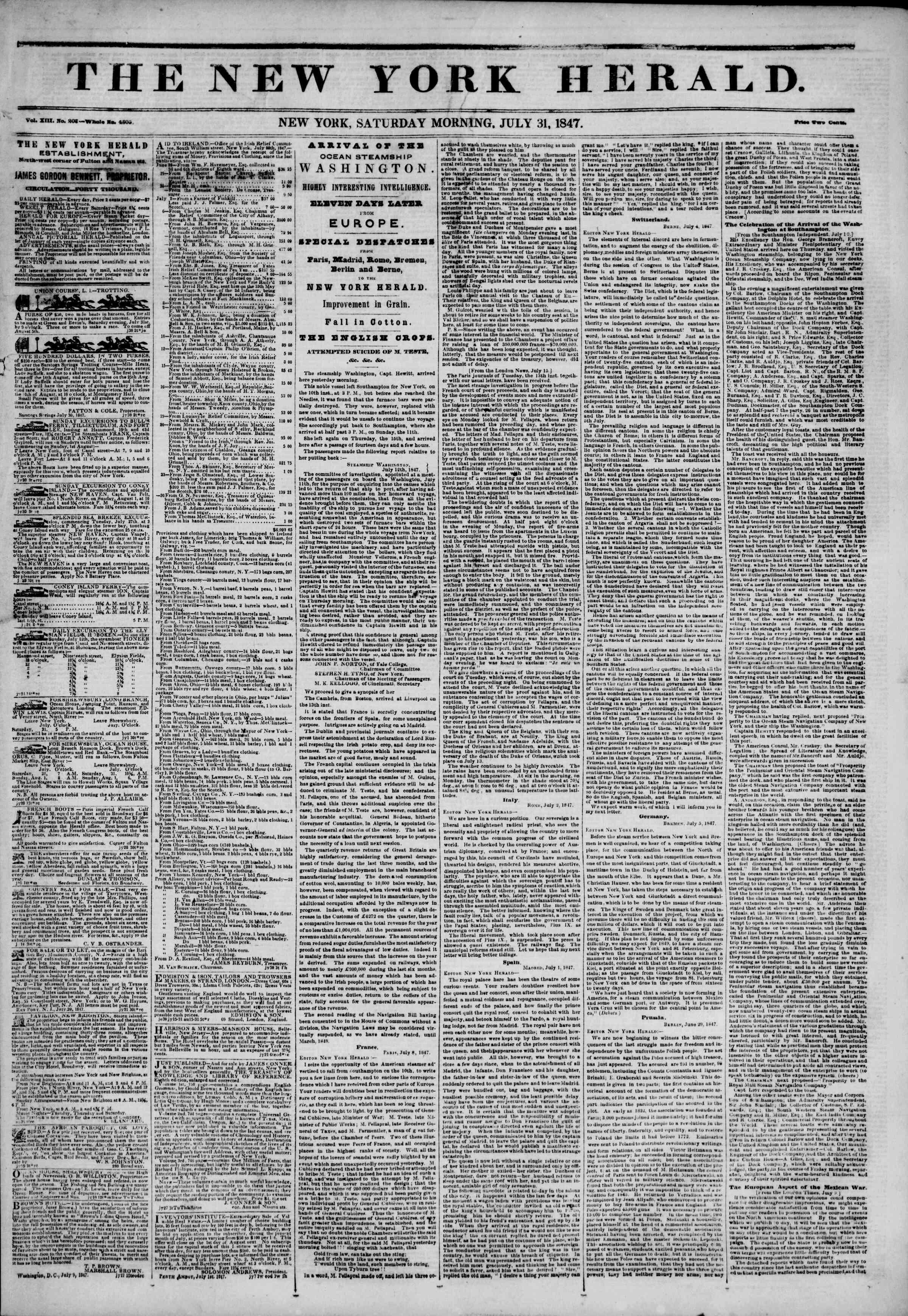 31 Temmuz 1847 tarihli The New York Herald Gazetesi Sayfa 1