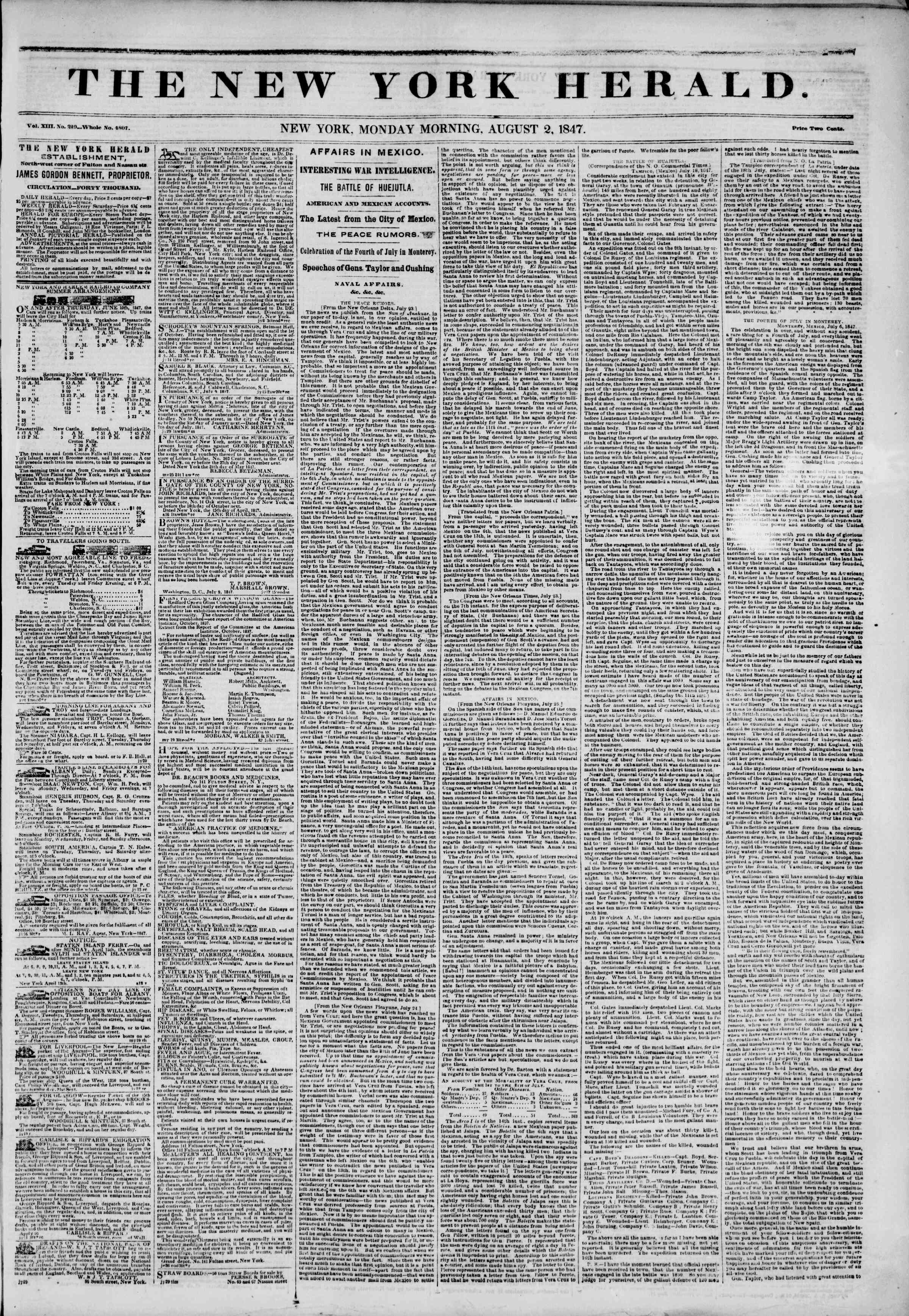 2 Ağustos 1847 tarihli The New York Herald Gazetesi Sayfa 1