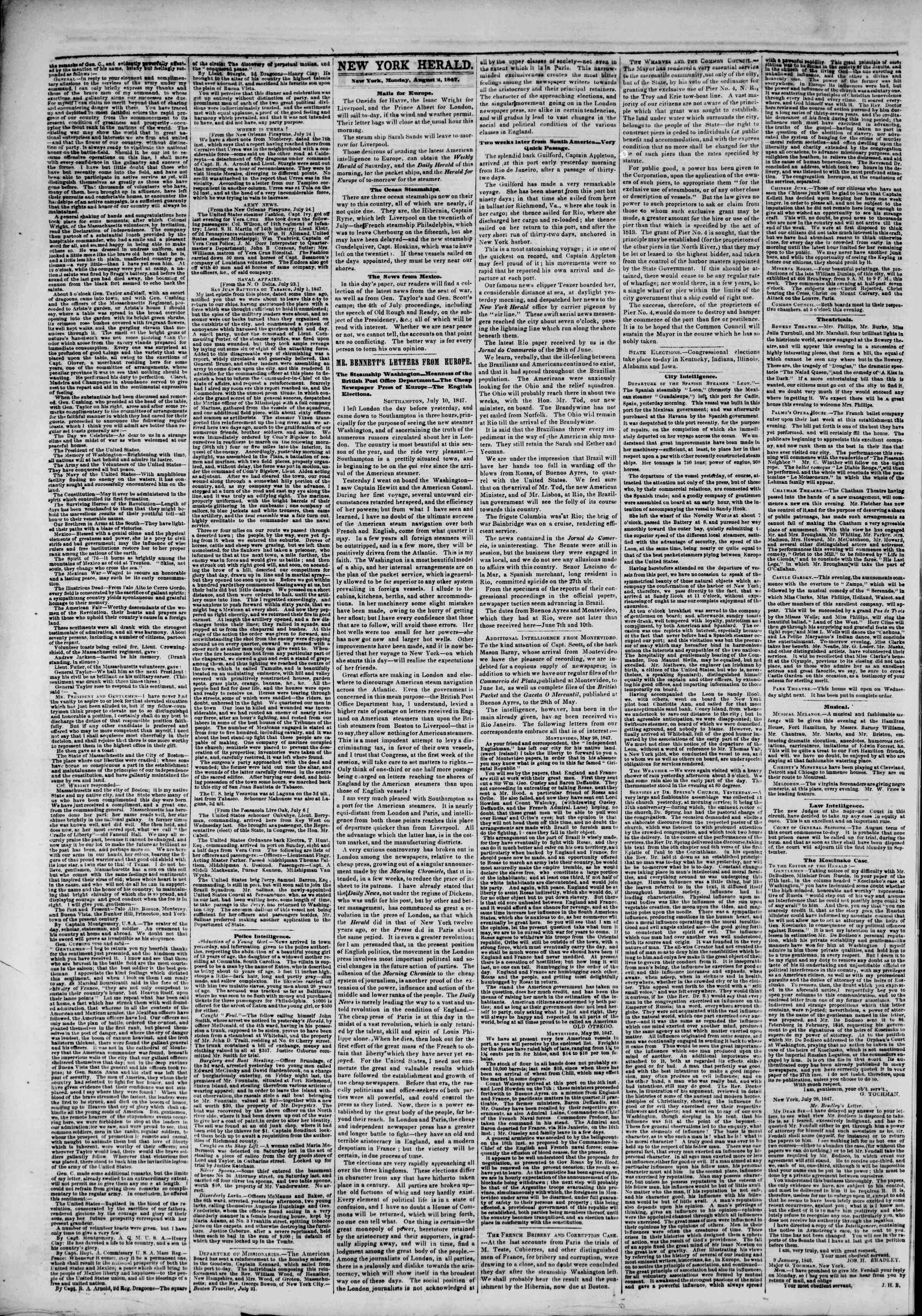 2 Ağustos 1847 tarihli The New York Herald Gazetesi Sayfa 2