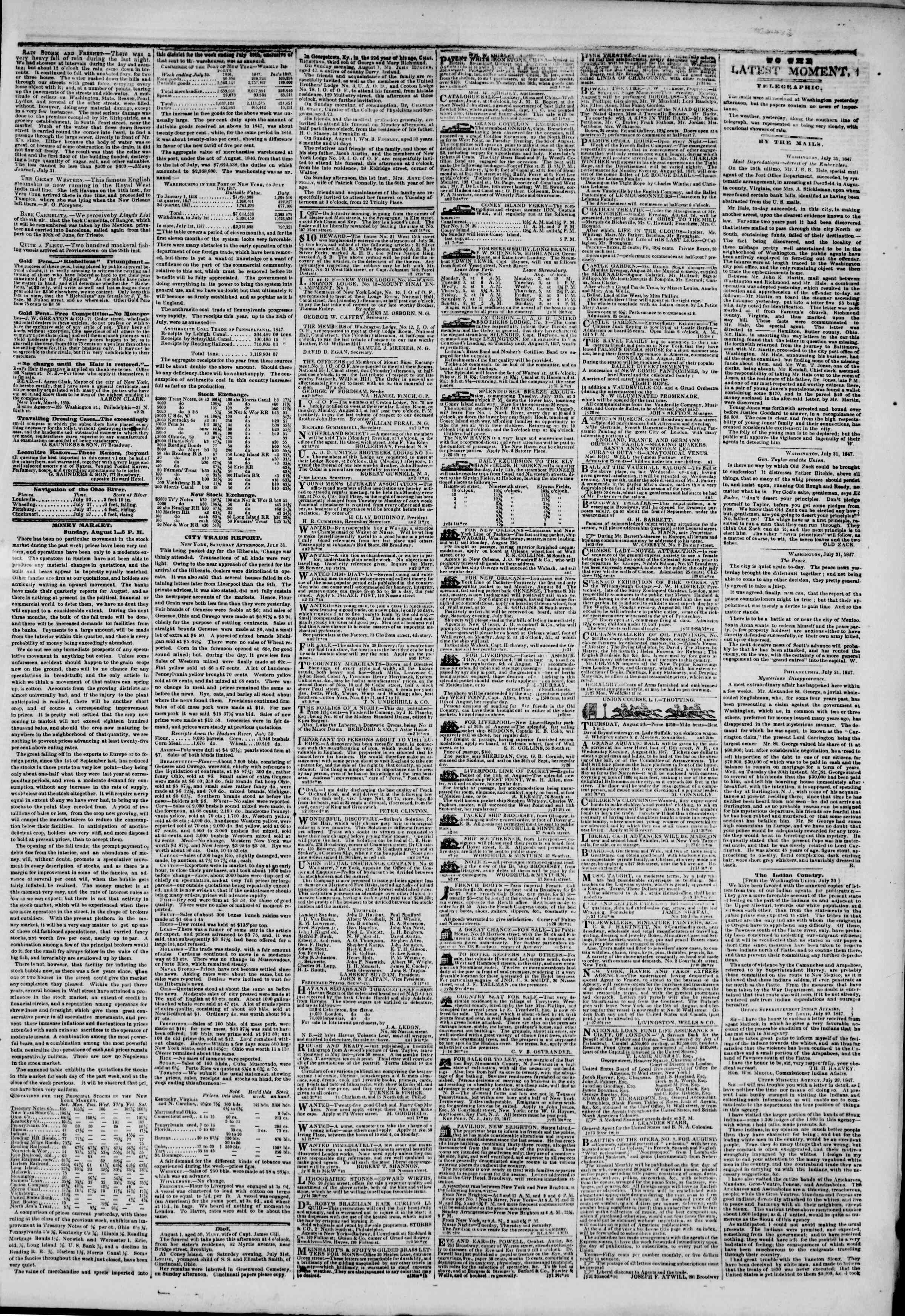 Newspaper of The New York Herald dated August 2, 1847 Page 3